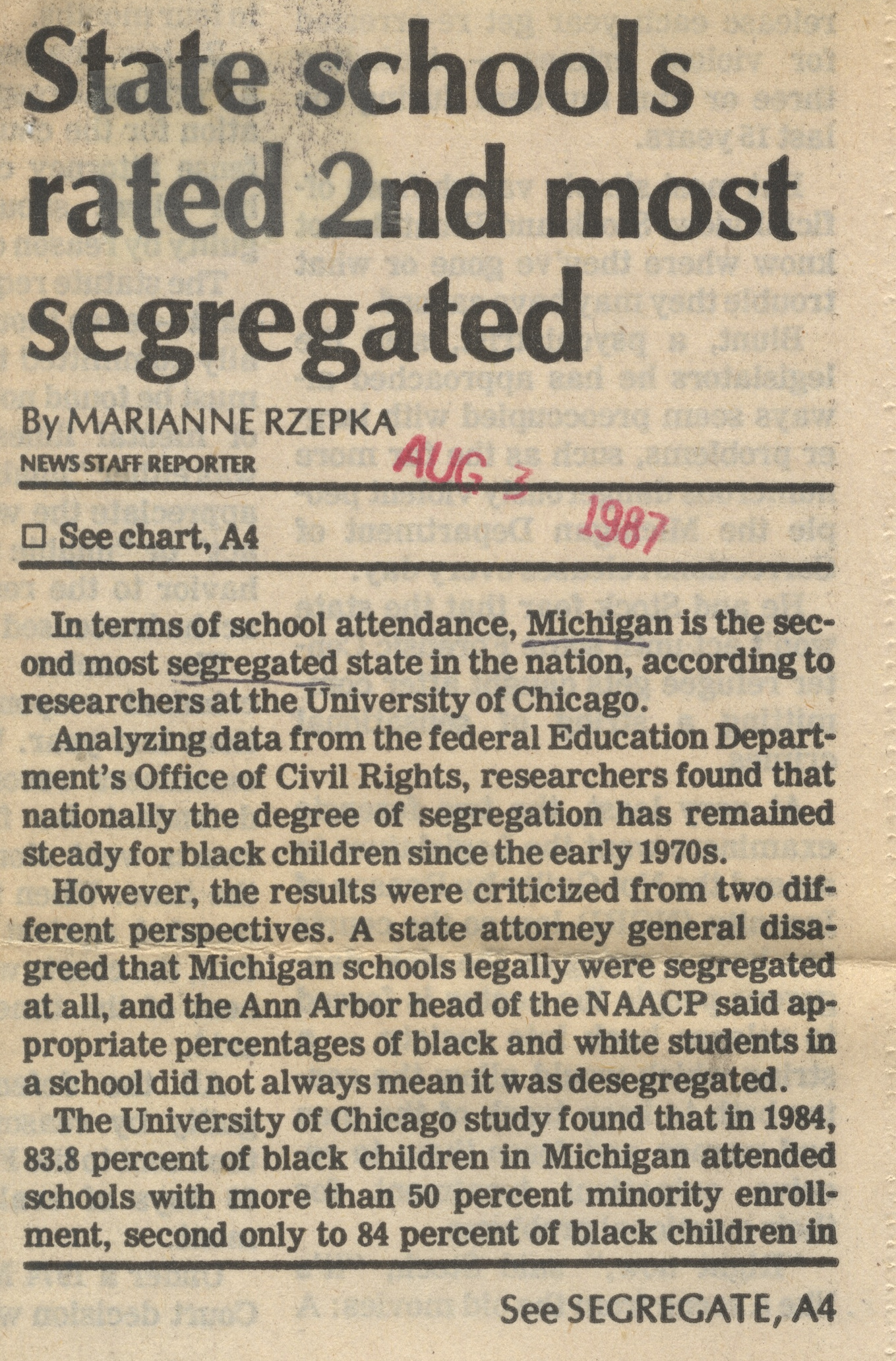State Schools Rated 2nd Most Segregated image
