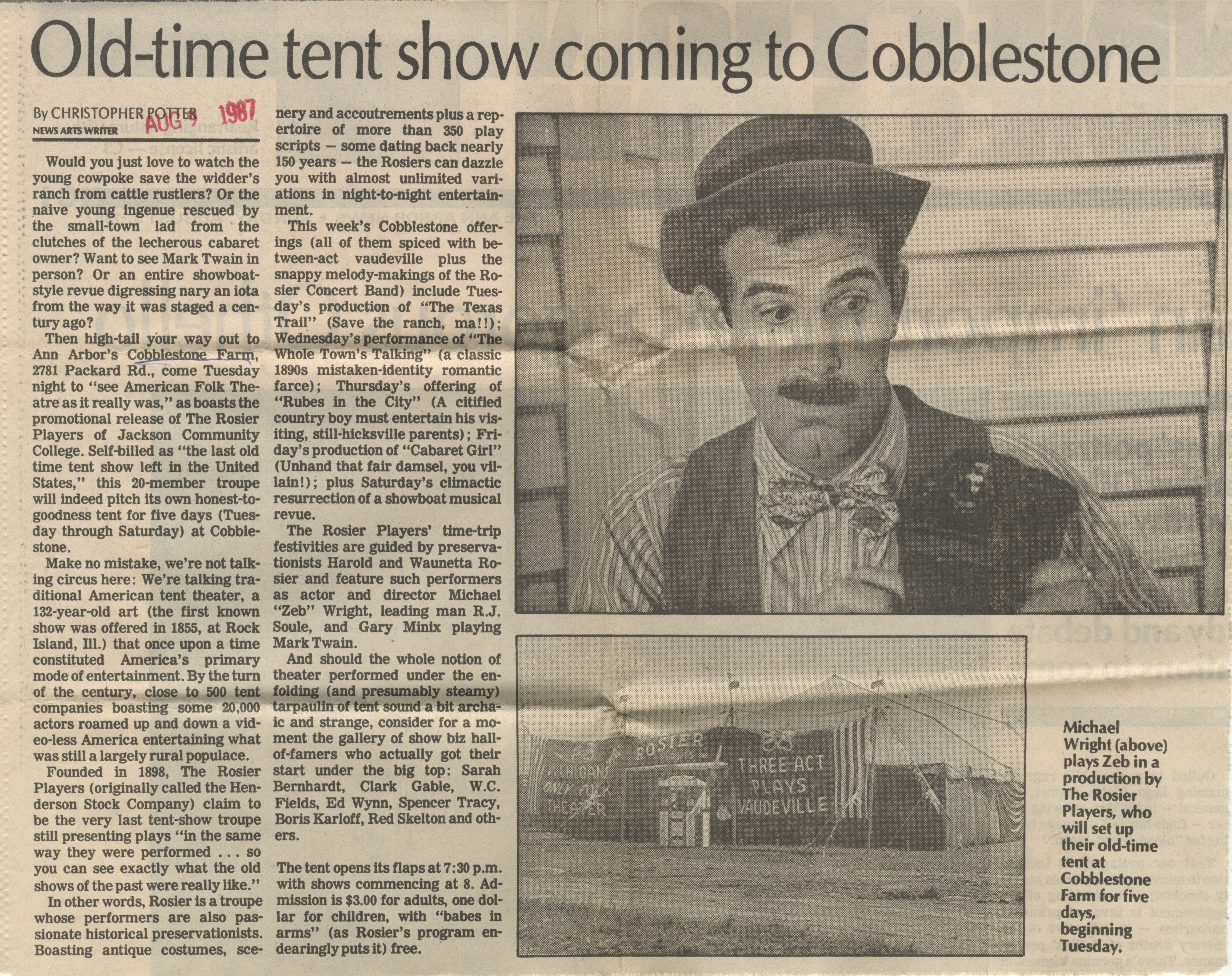 Old-Time Tent Show Coming To Cobblestone image