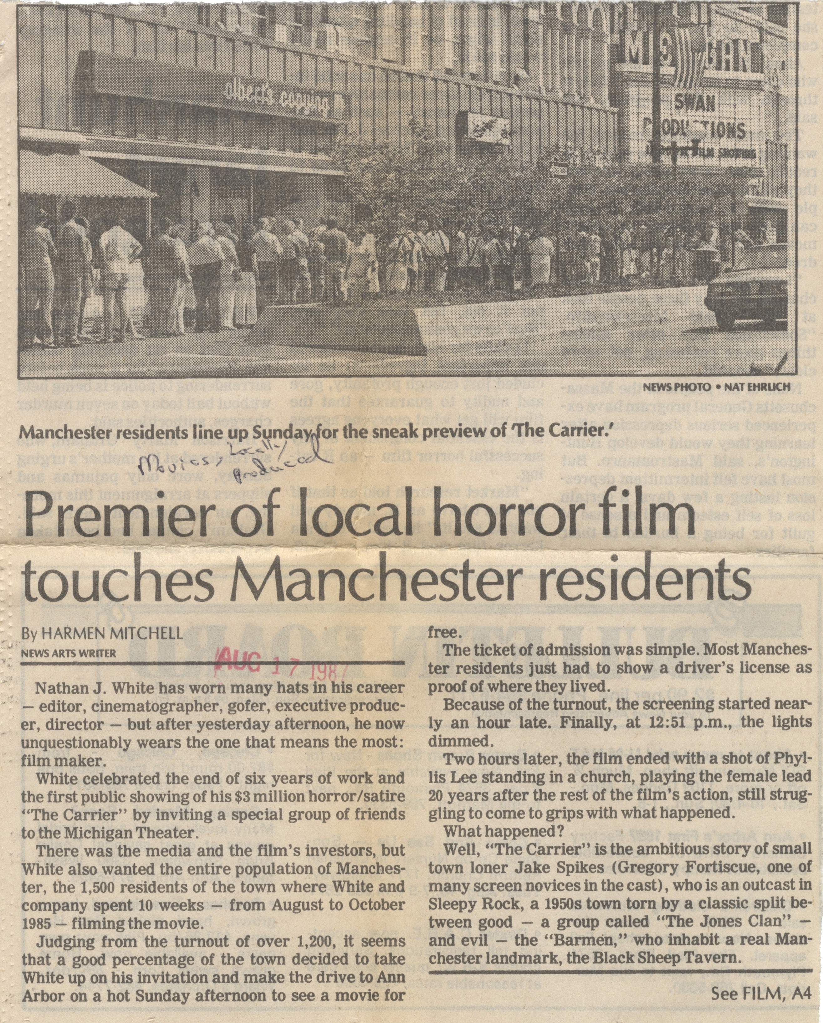 Premiere of Local Horror Film Touches Manchester Residents image