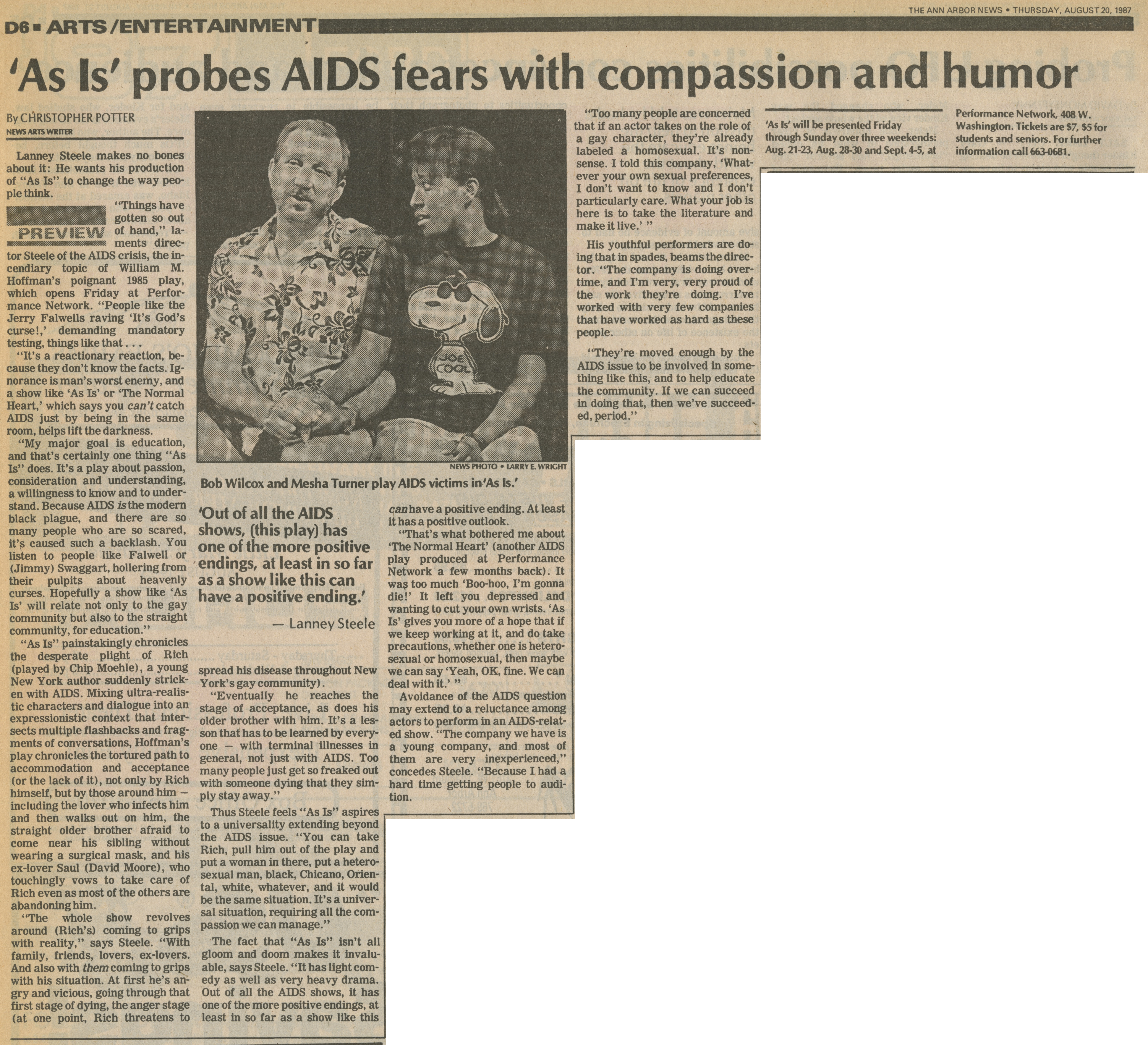'As Is' probes AIDS fears with compassion and humor image