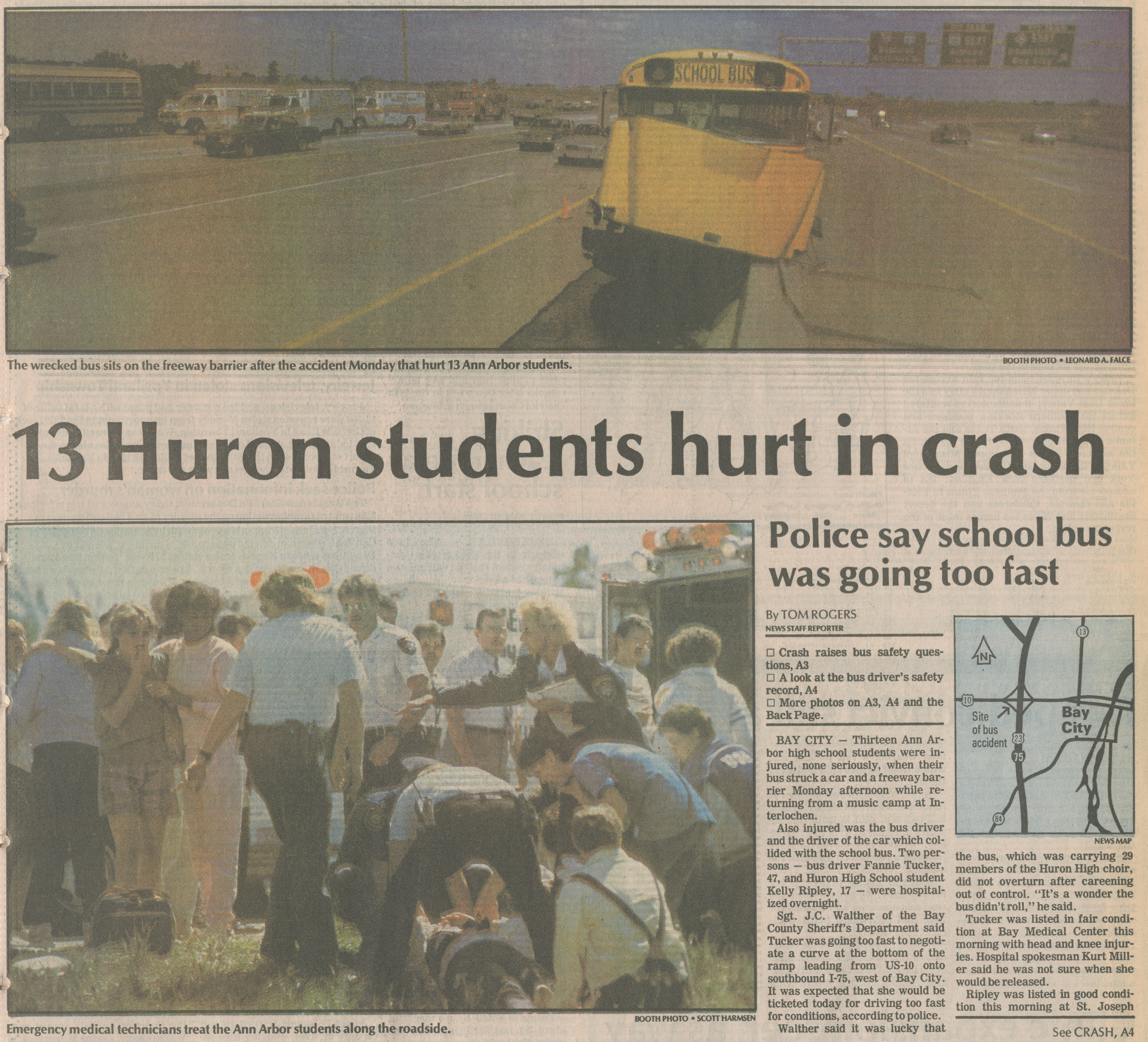 13 Huron Students Hurt In Crash  image