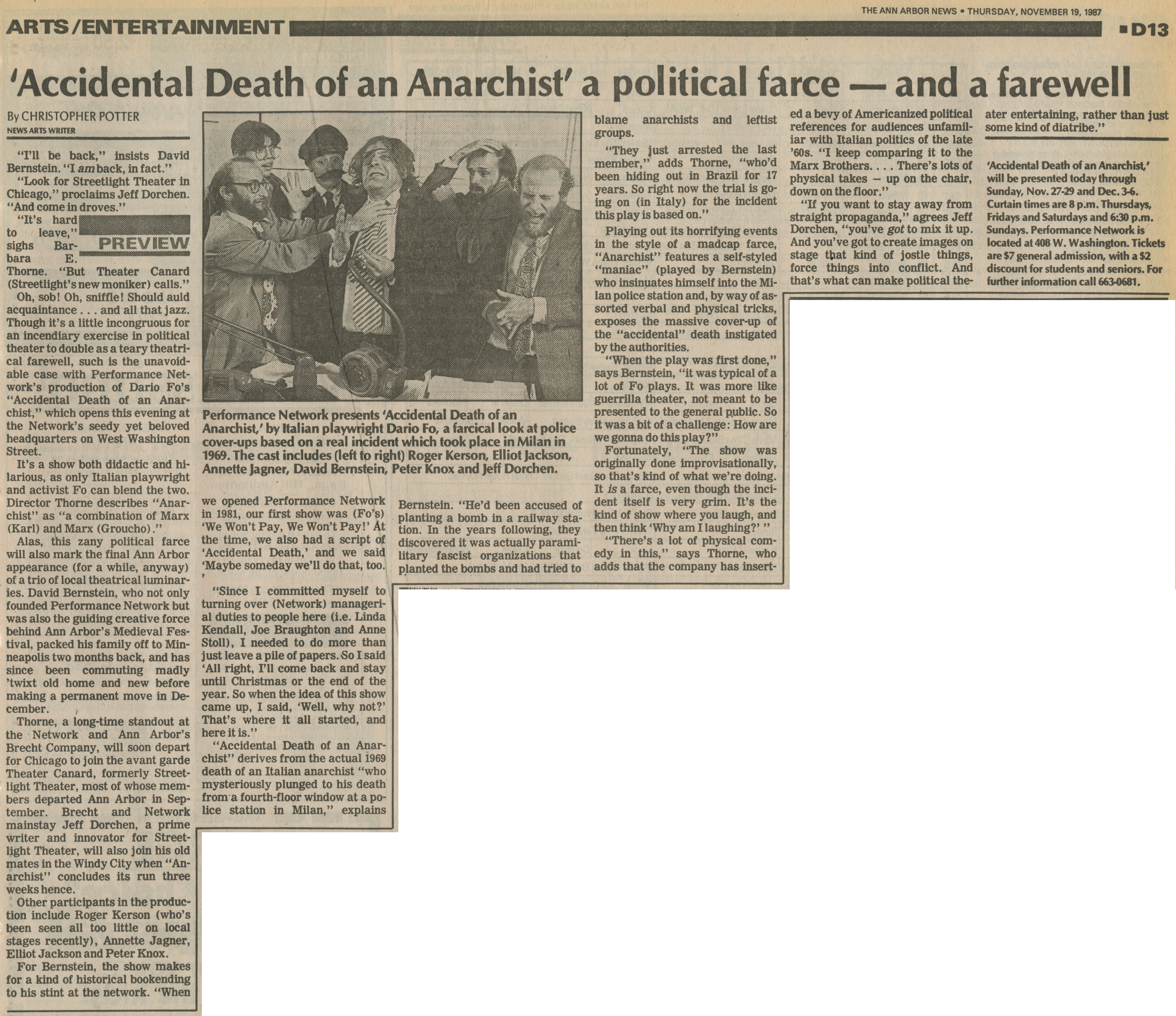 'Accidental Death of an Anarchist' a political farce - and a farewell image