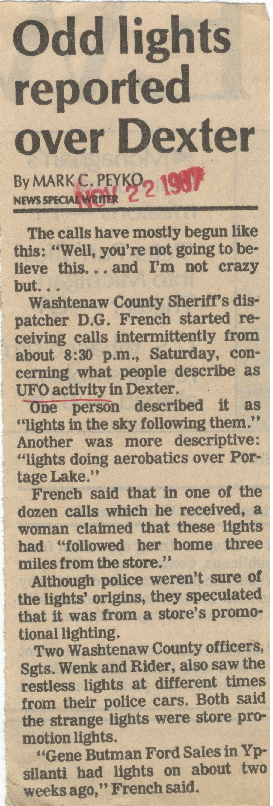 Odd Lights Reported Over Dexter image