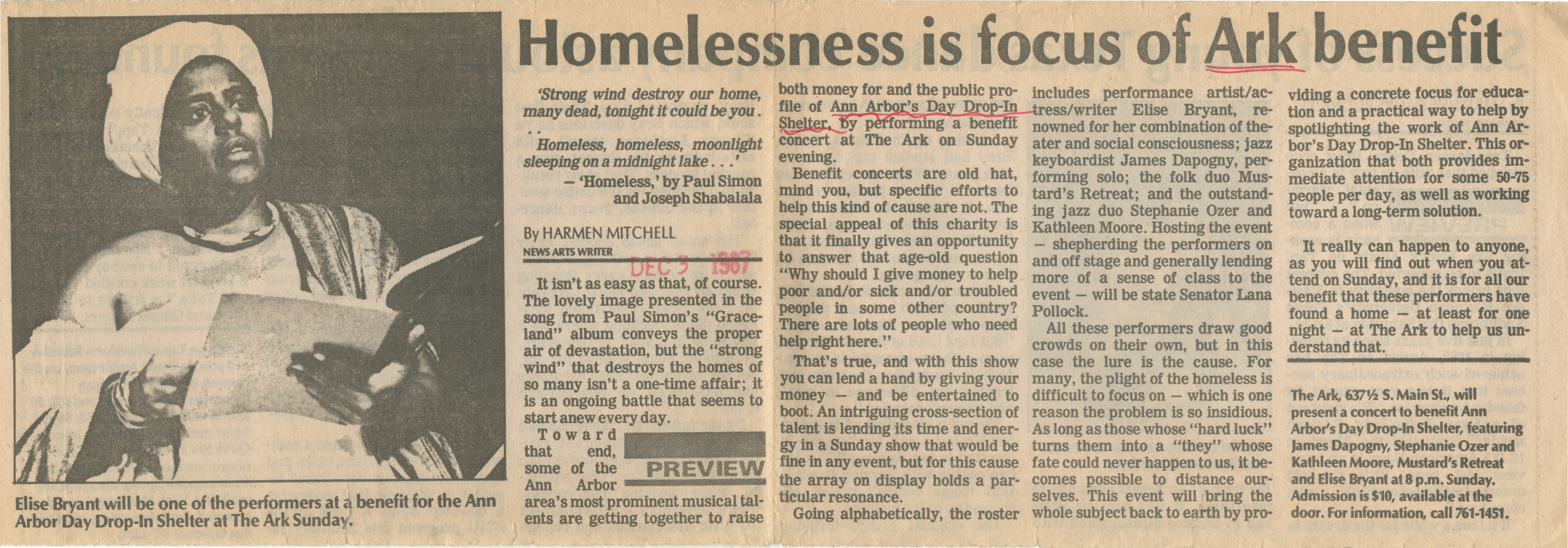 Homelessness Is Focus Of Ark Benefit image