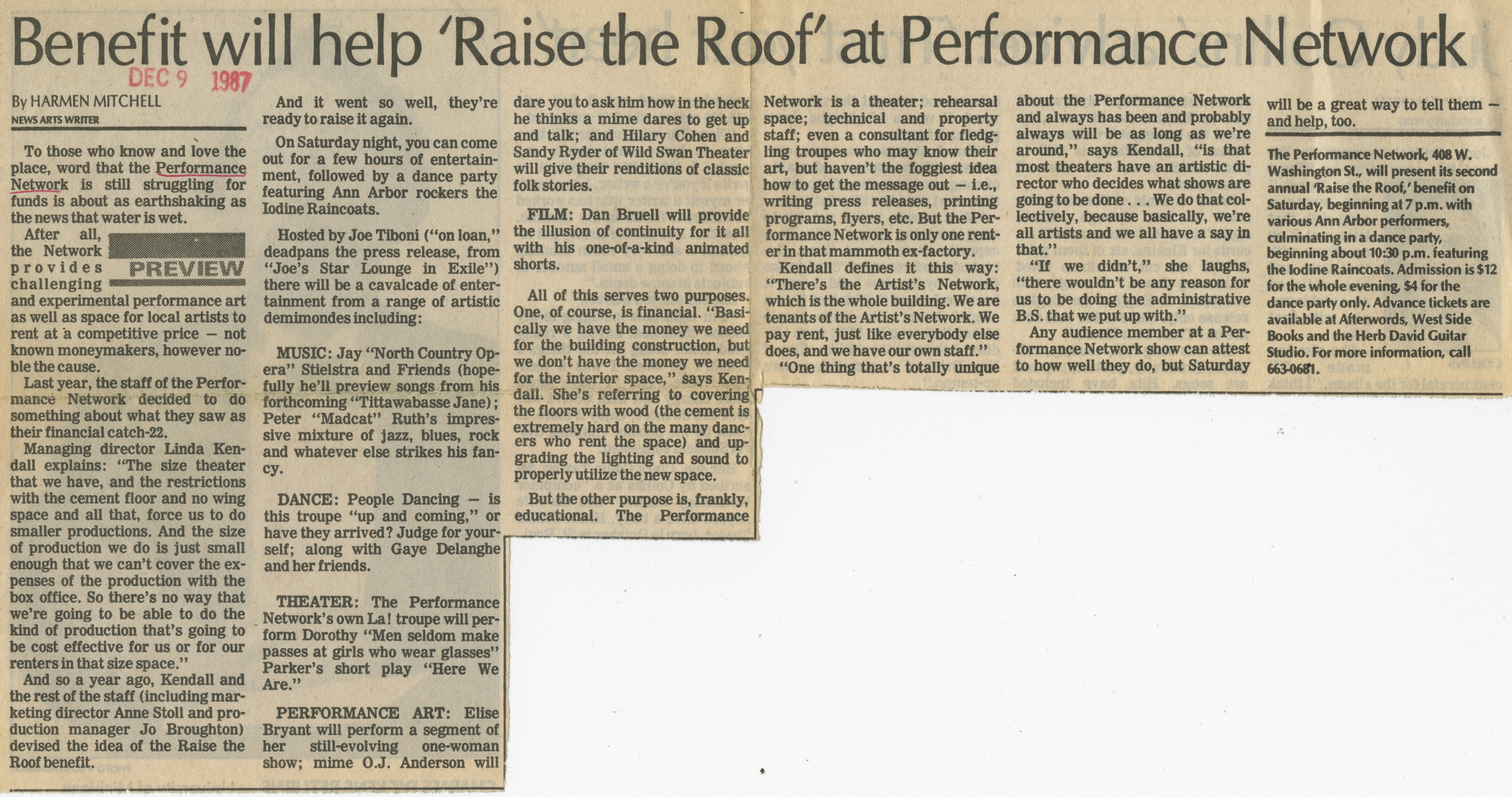 Benefit will help 'Raise the Roof' at Performance Network image