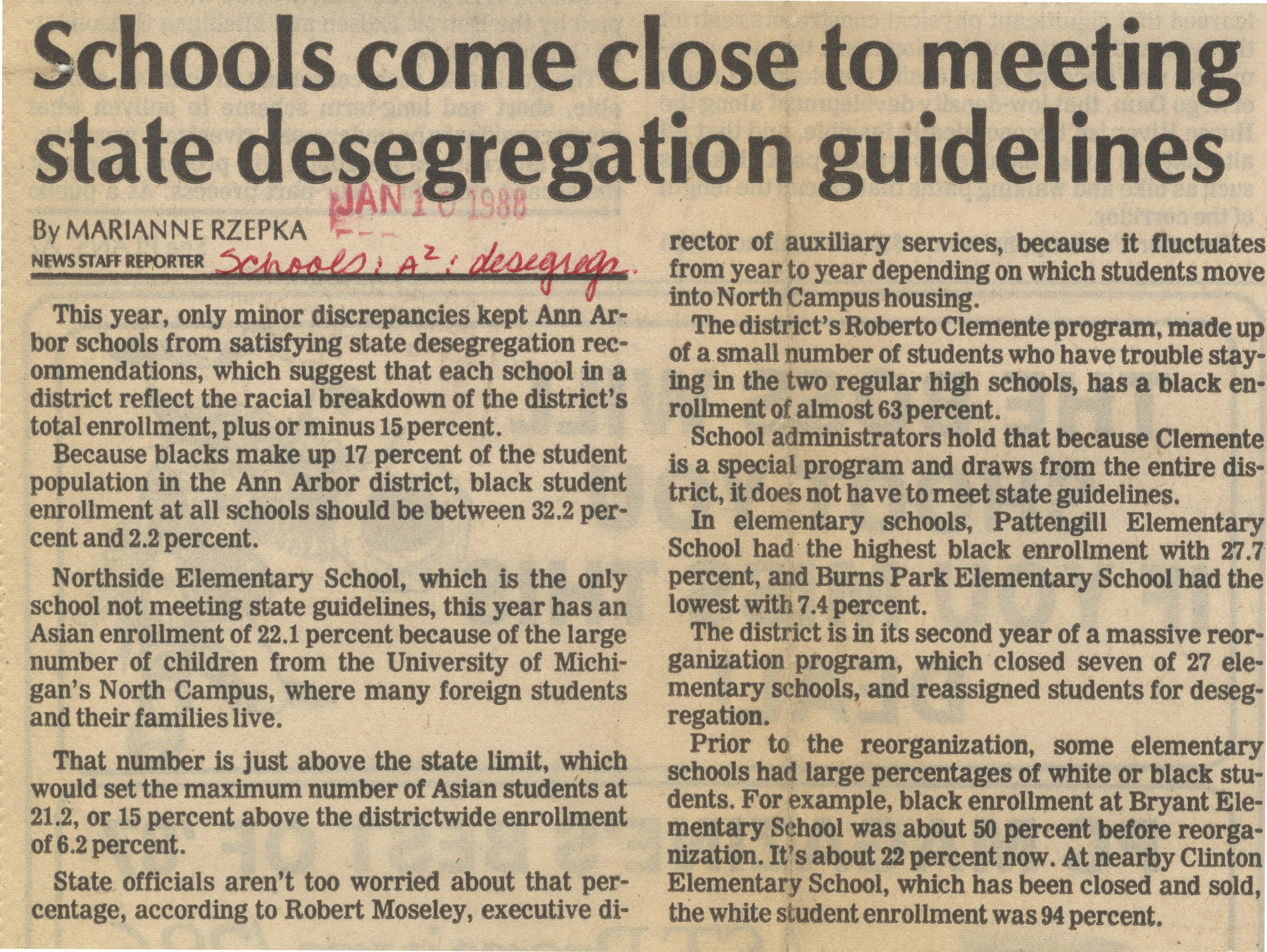 Schools Come Close To Meeting State Desegregation Guidelines image