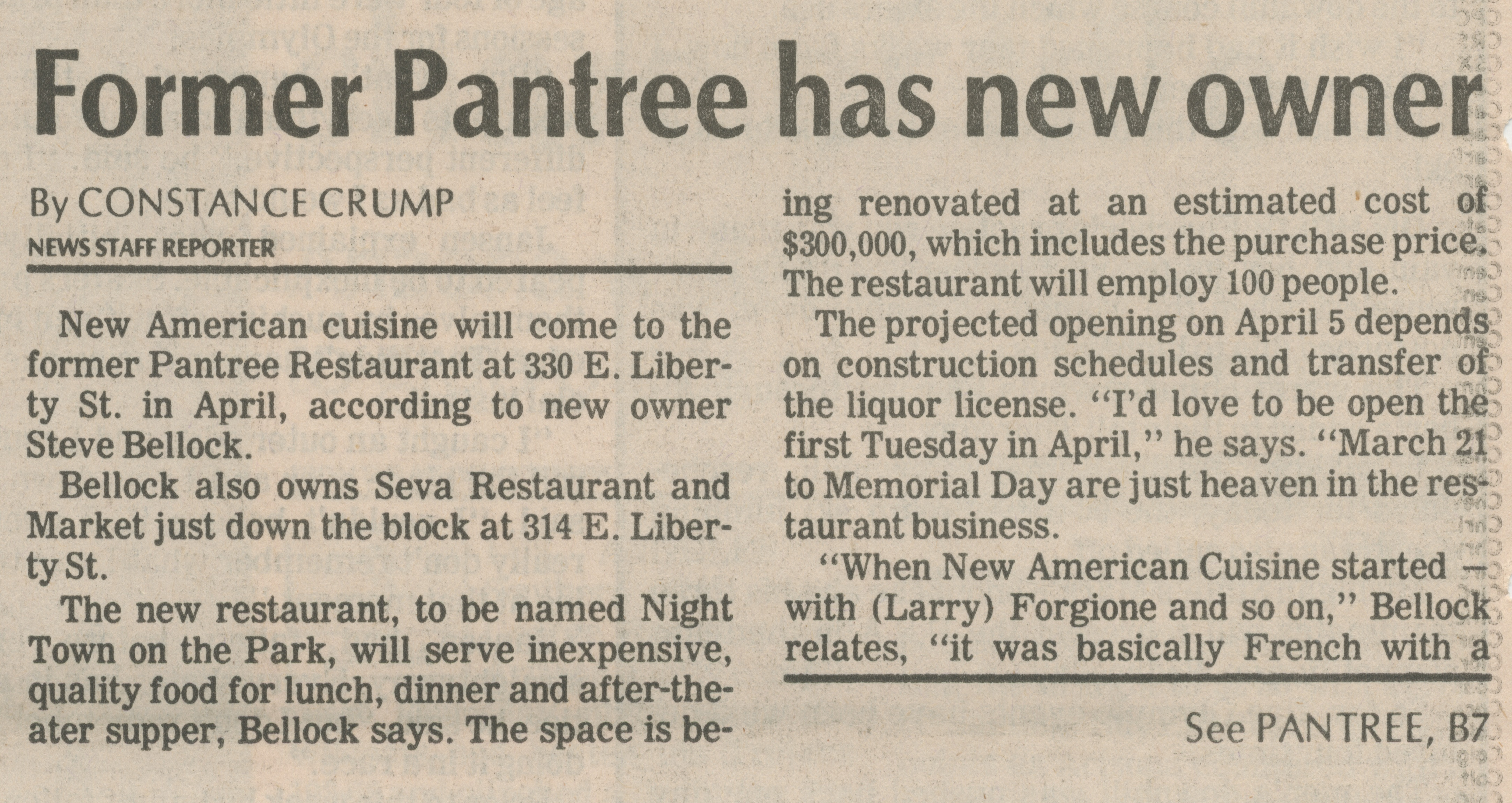 Former Pantree has new owner image
