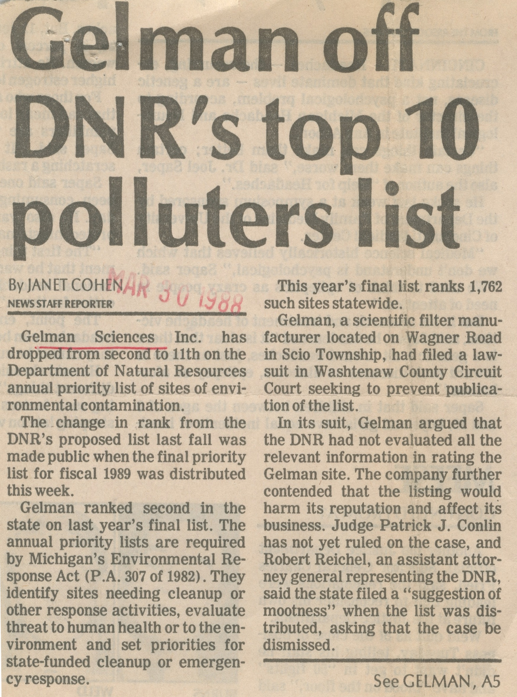 Gelman Off DNR's Top 10 Polluters List image