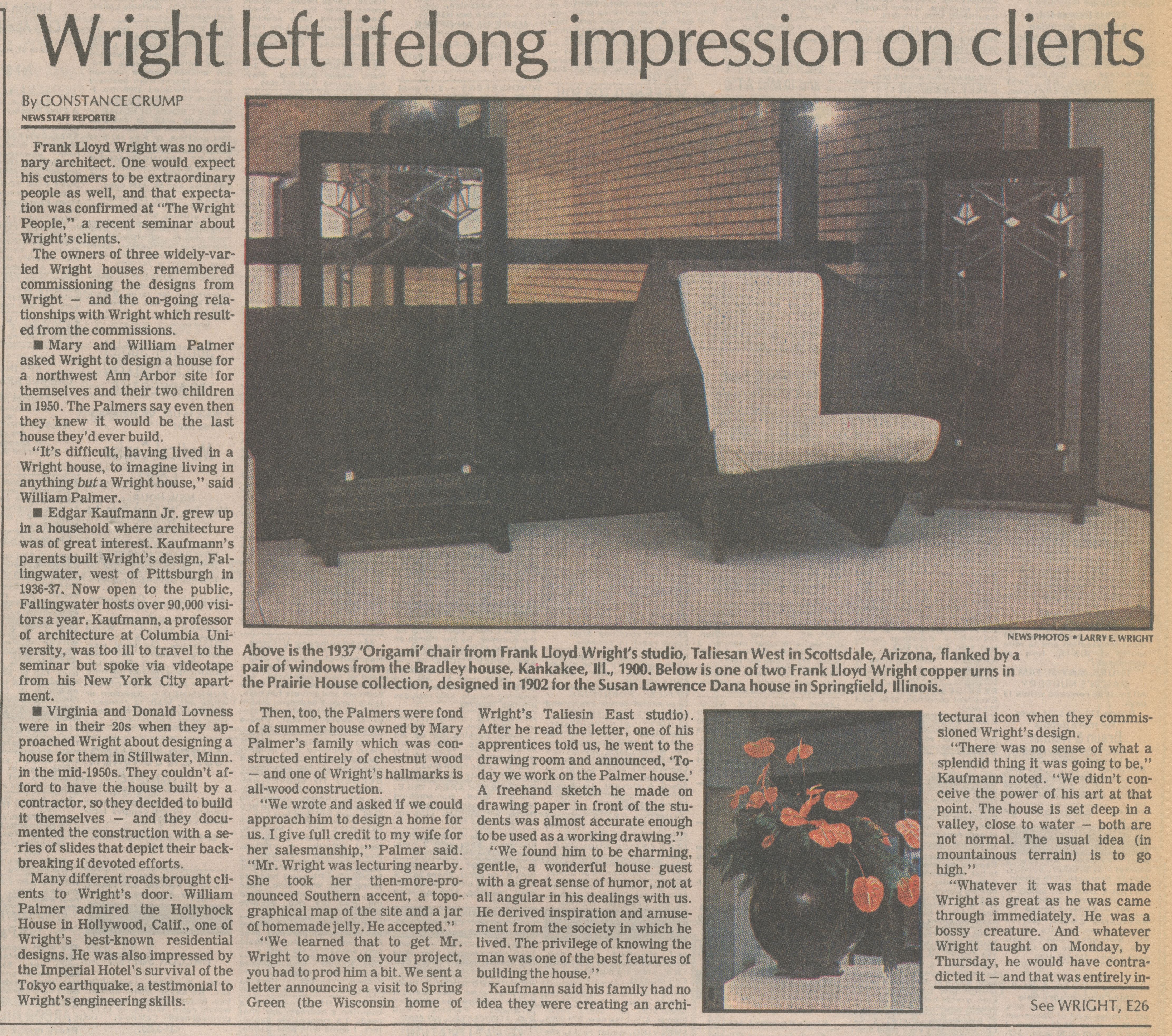 Wright Left Lifelong Impression On Clients image