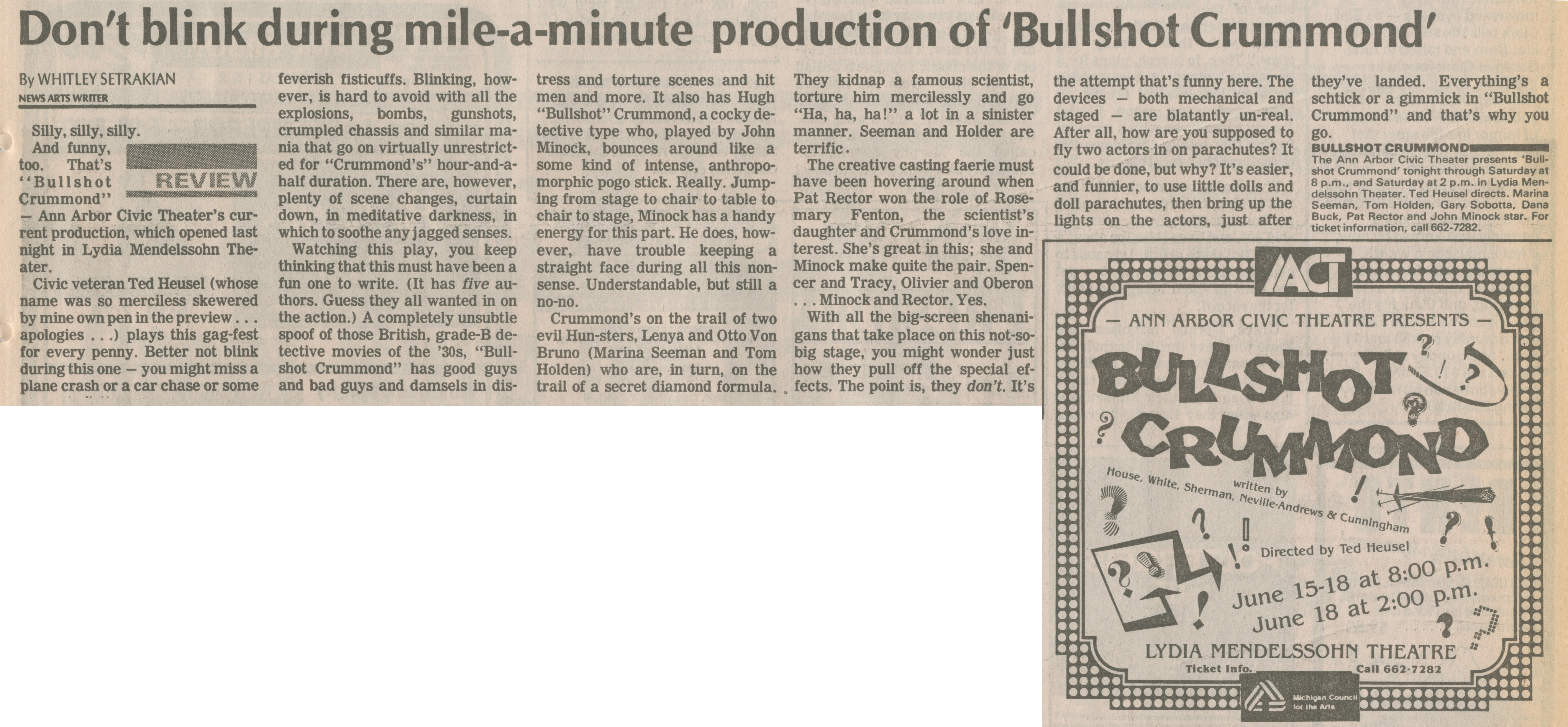 Don't Blink During Mile-a-Minute Production Of 'Bullshot Crummond' image