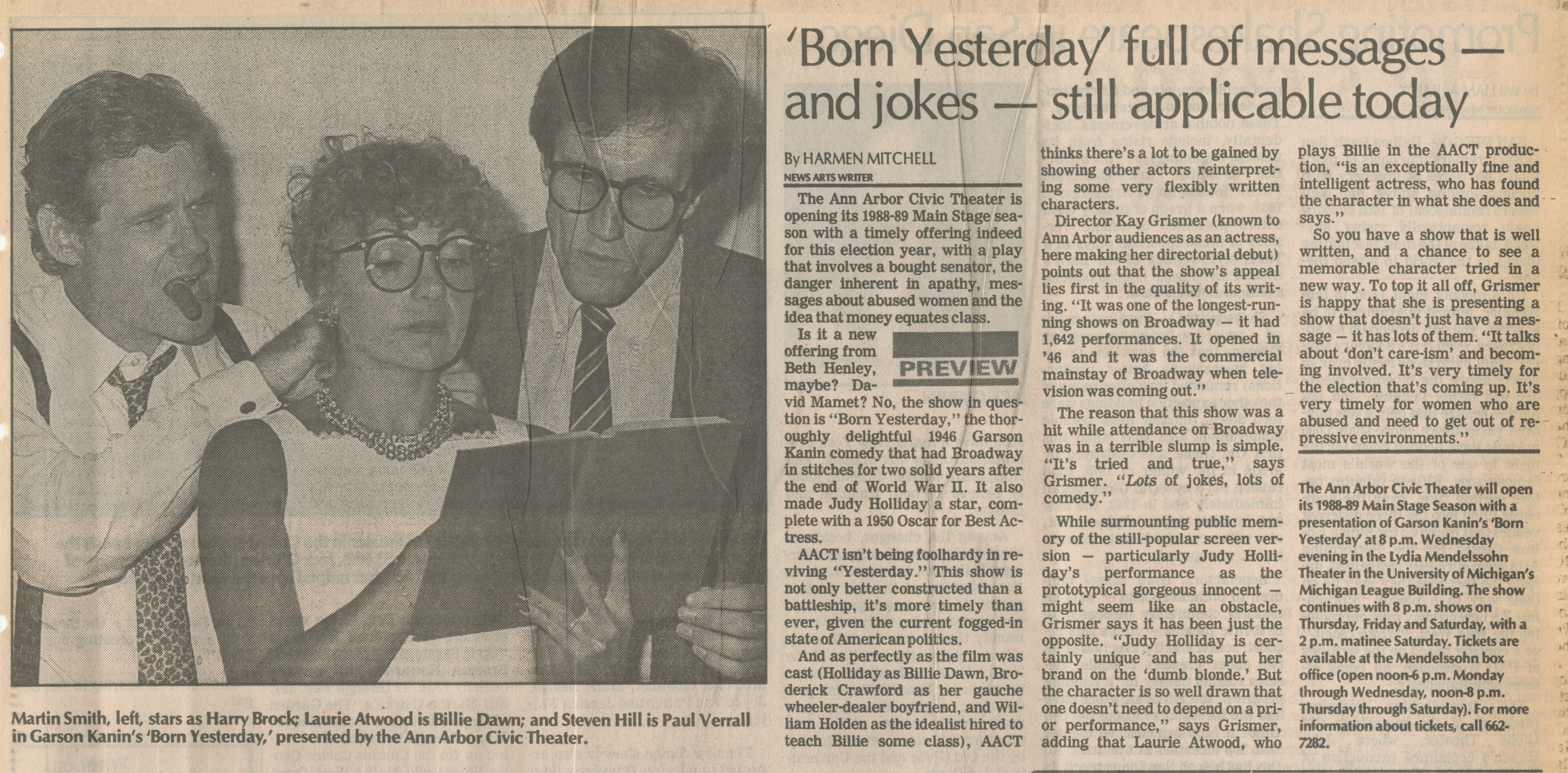 'Born Yesterday' Full Of Messages - And Jokes - Still Applicable Today image