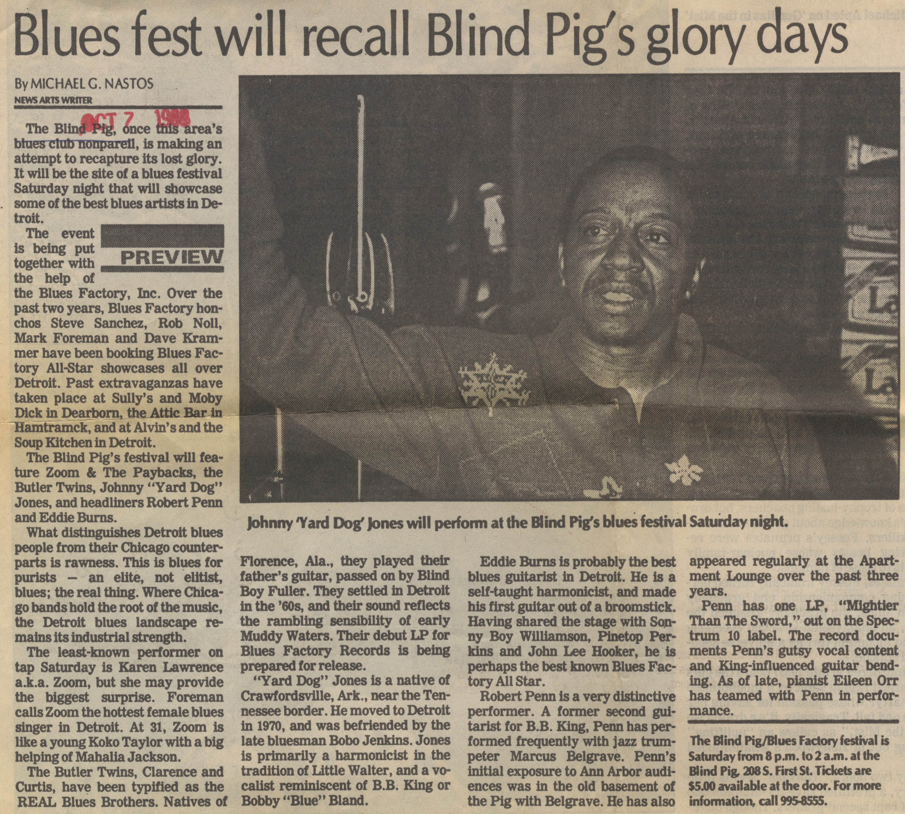 Blues Fest Will Recall Blind Pig's Glory Days image