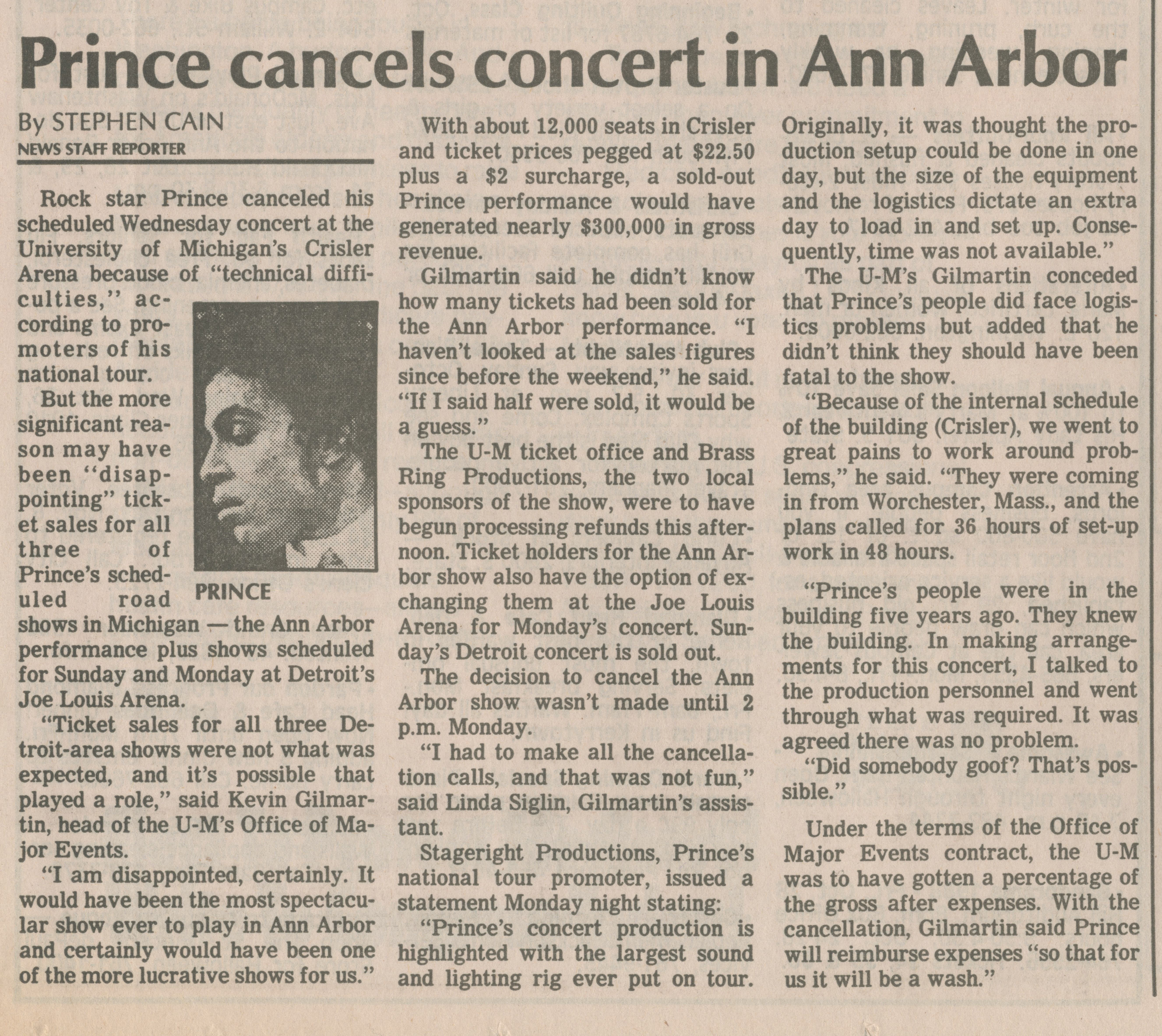 Prince cancels concert in Ann Arbor image
