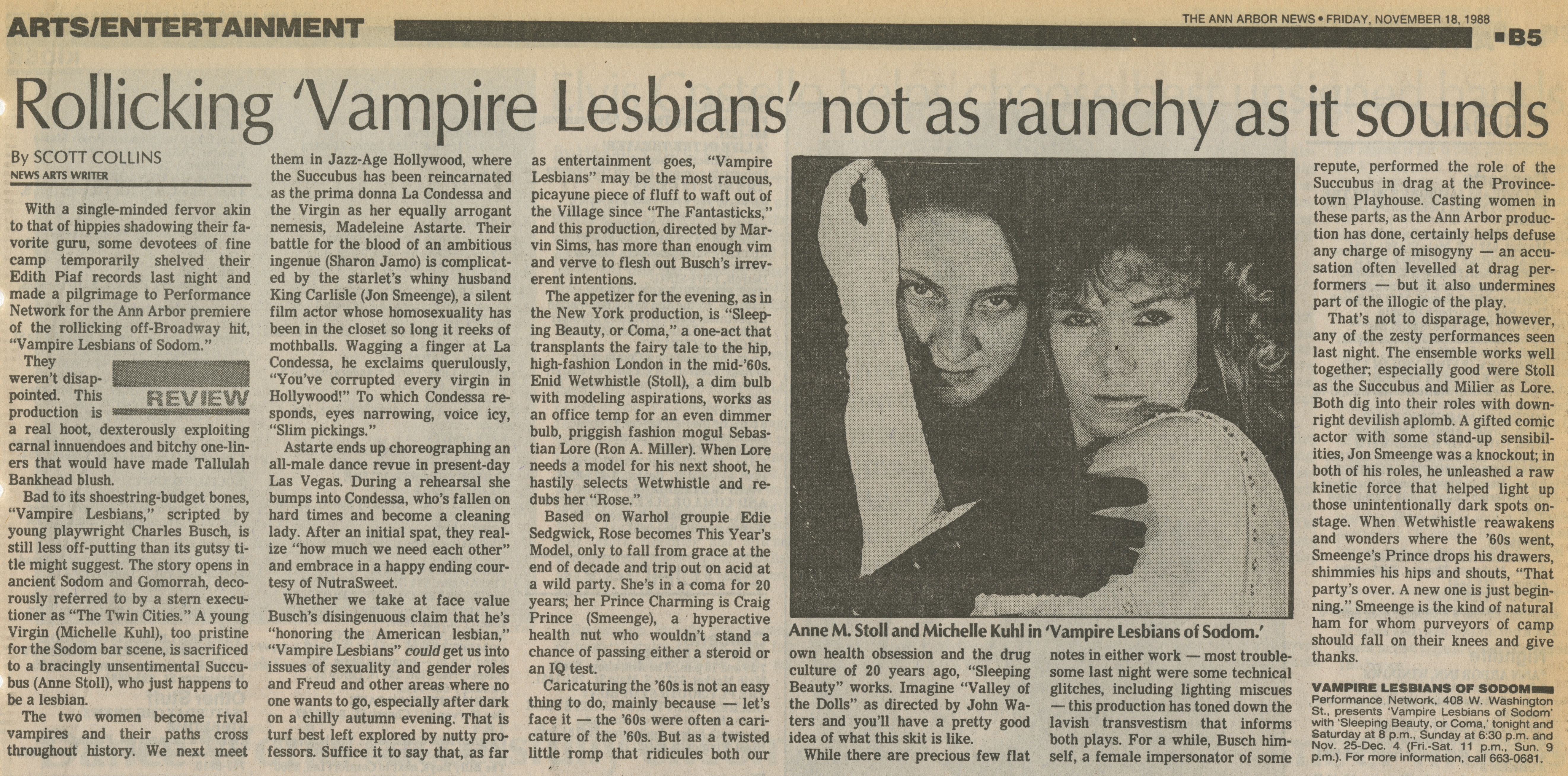 Rollicking 'Vampire Lesbians' not as raunchy as it sounds image