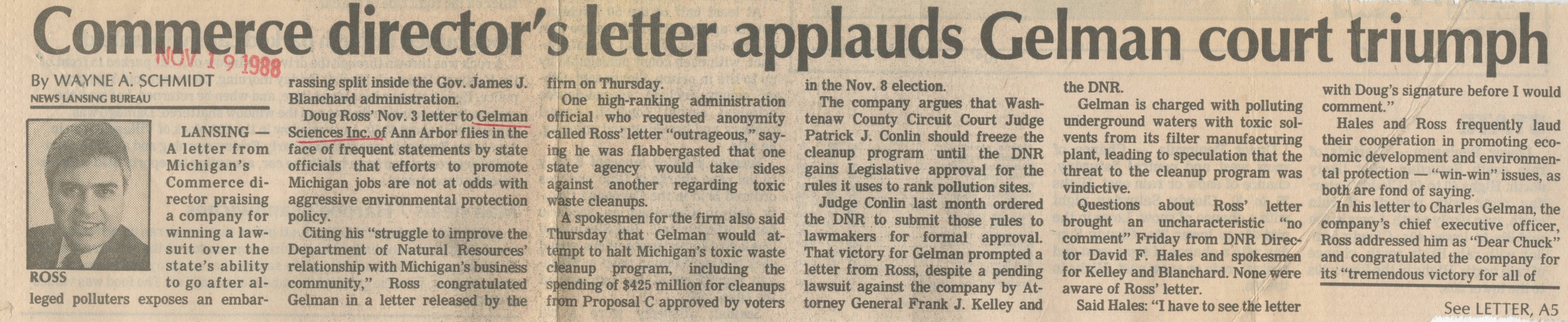 Commerce Director's Letter Applauds Gelman Court Triumph image