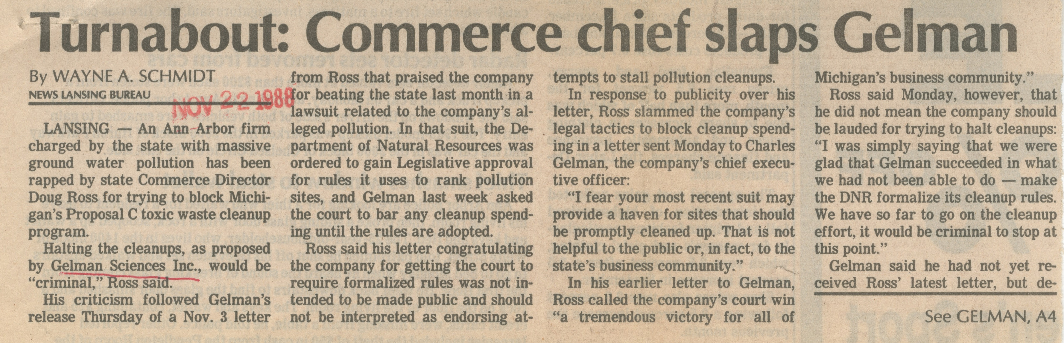 Turnabout: Commerce Chief Slaps Gelman image