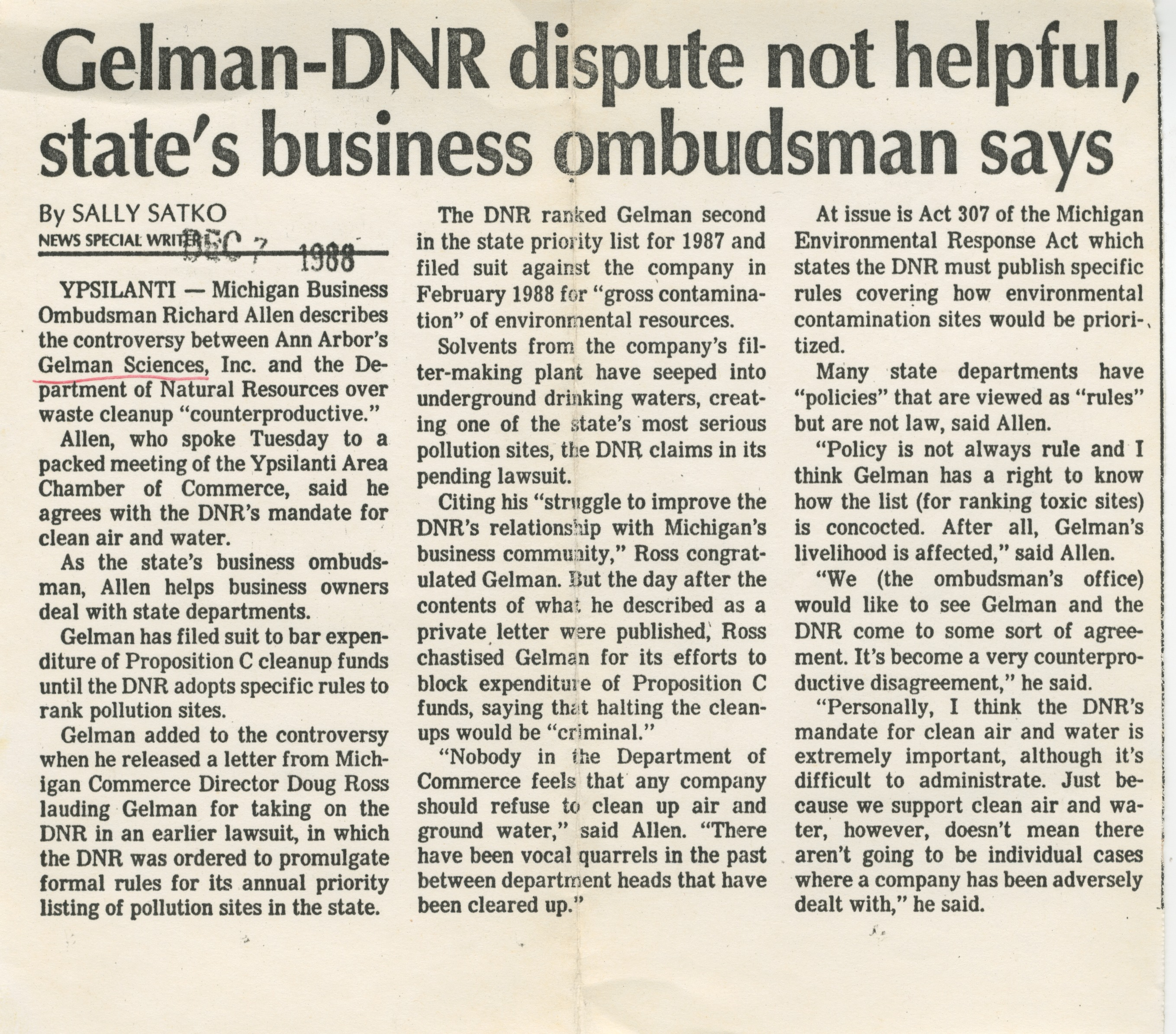 Gelman -DNR Dispute Not Helpful, State's Business Ombudsman Says image