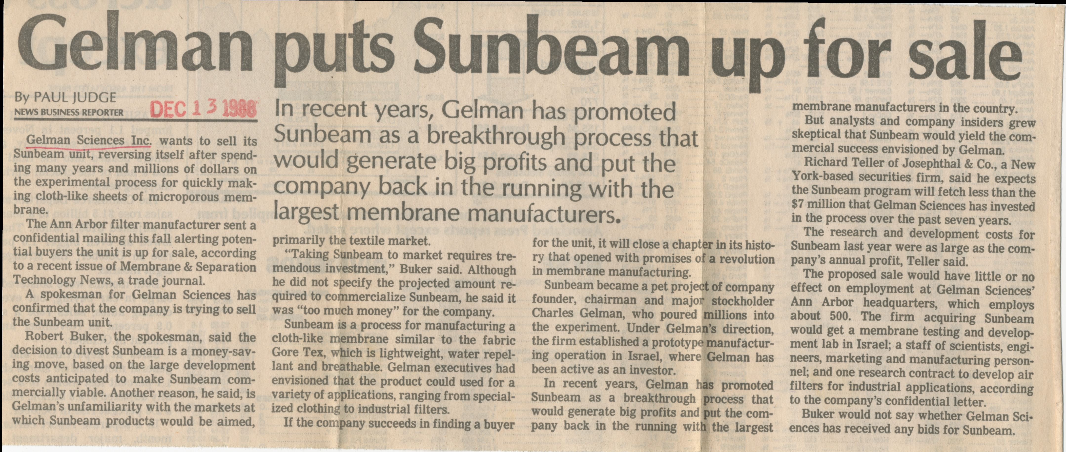 Gelman Puts Sunbeam Up For Sale image