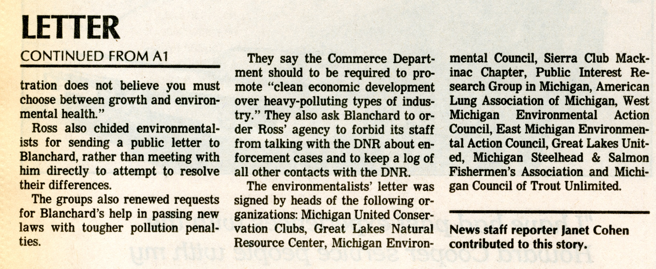 Environmentalists Criticize Commerce Chief In Letter To Blanchard image