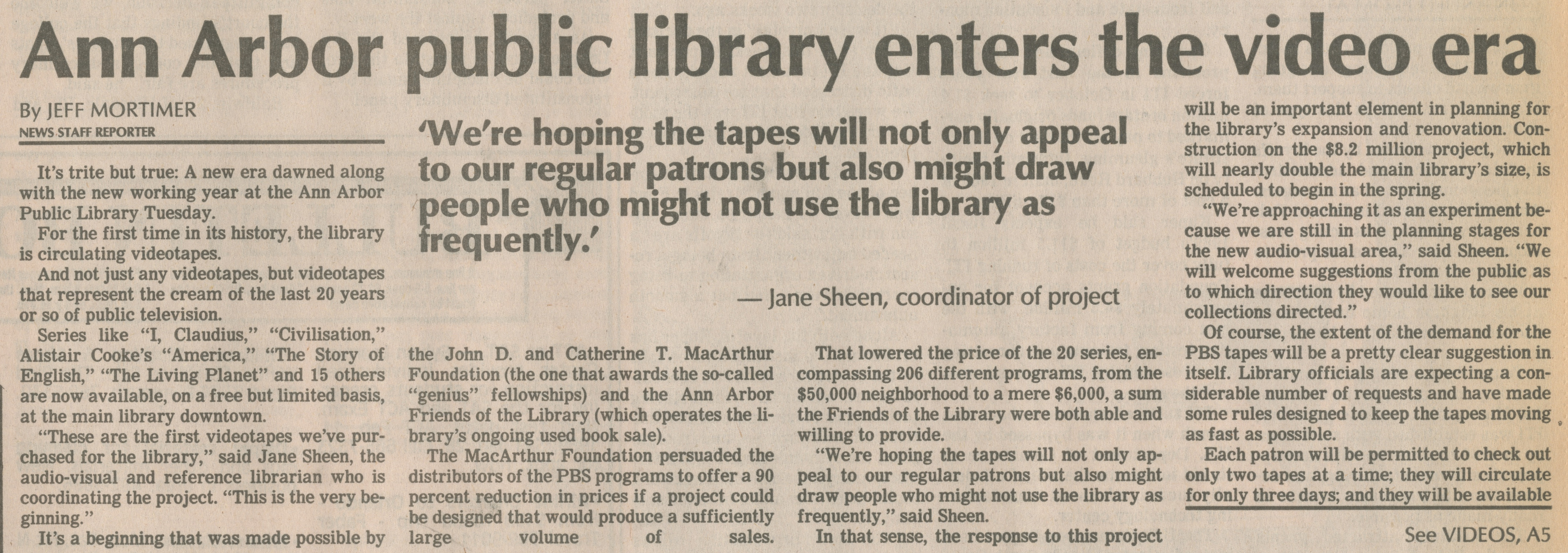 Ann Arbor Public Library Enters The Video Era image