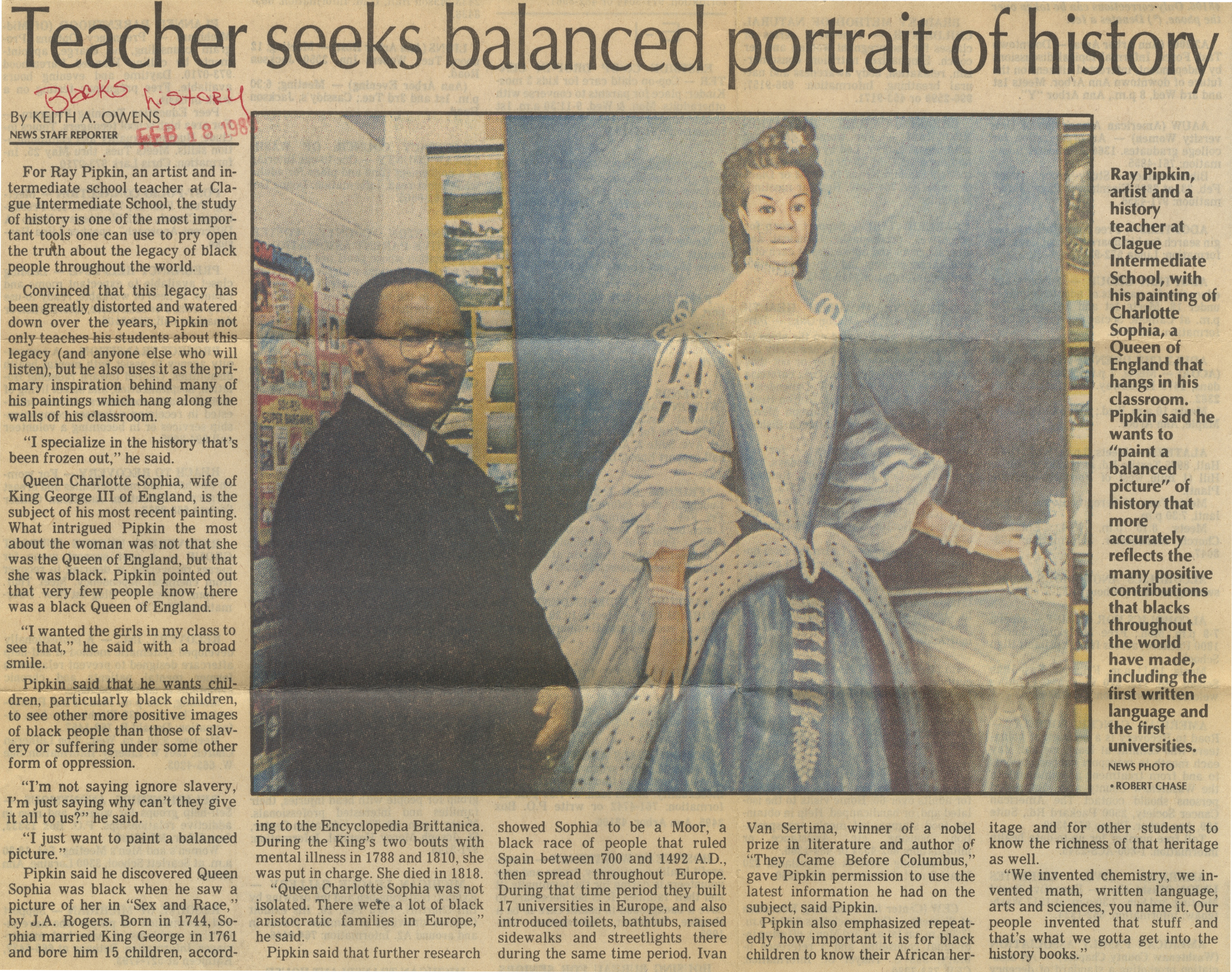 Teacher Seeks Balanced Portrait Of History image