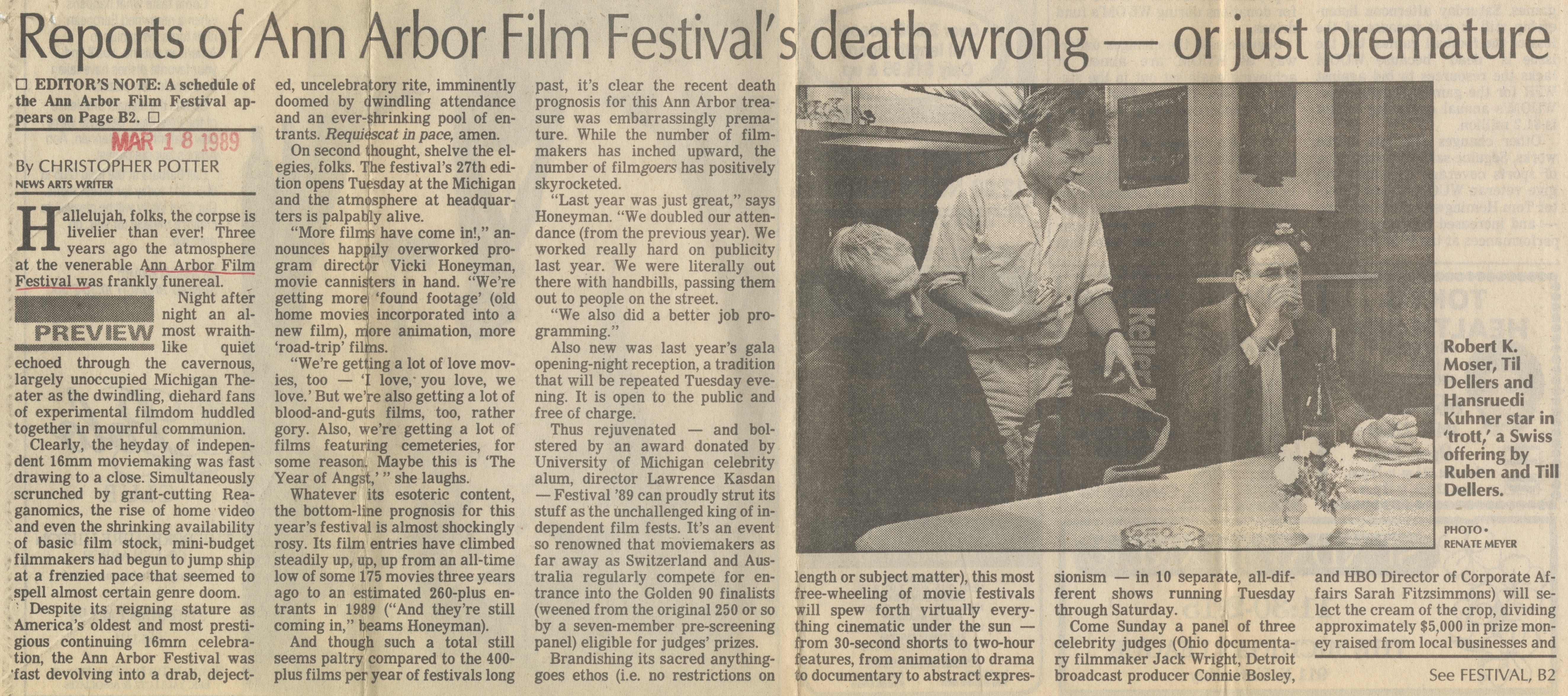 Reports of Ann Arbor Film Festival's death wrong - or just premature image