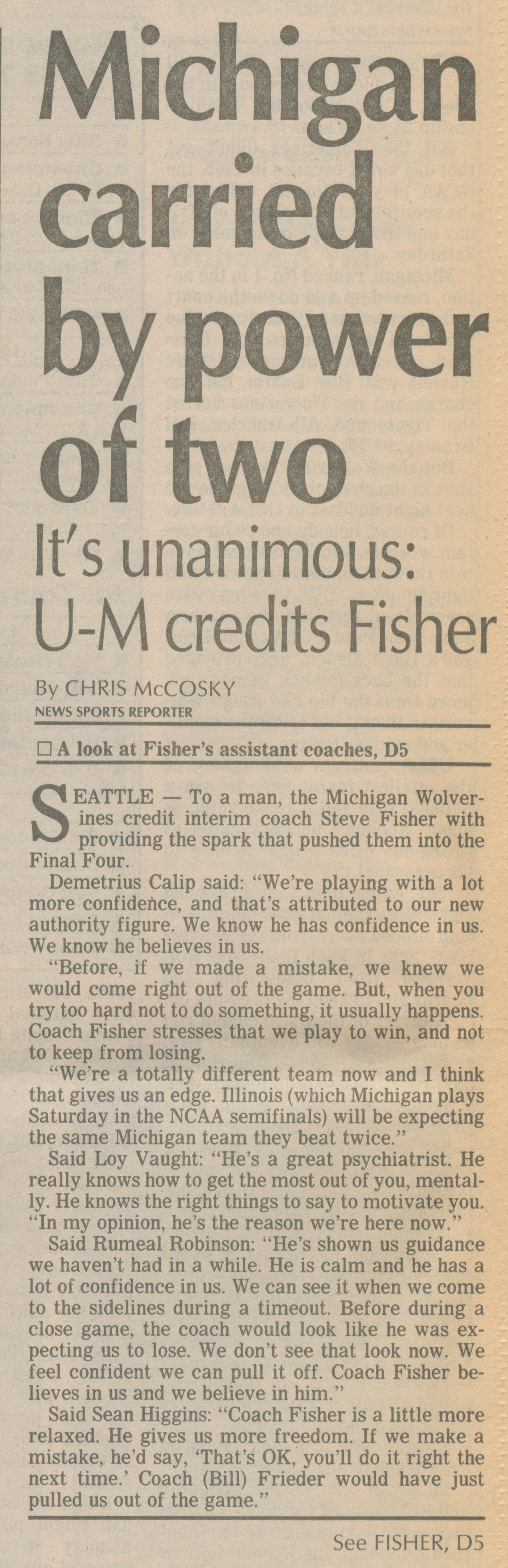 Michigan Carried By Power of Two:  It's Unanimous: U-M Credits Fisher image
