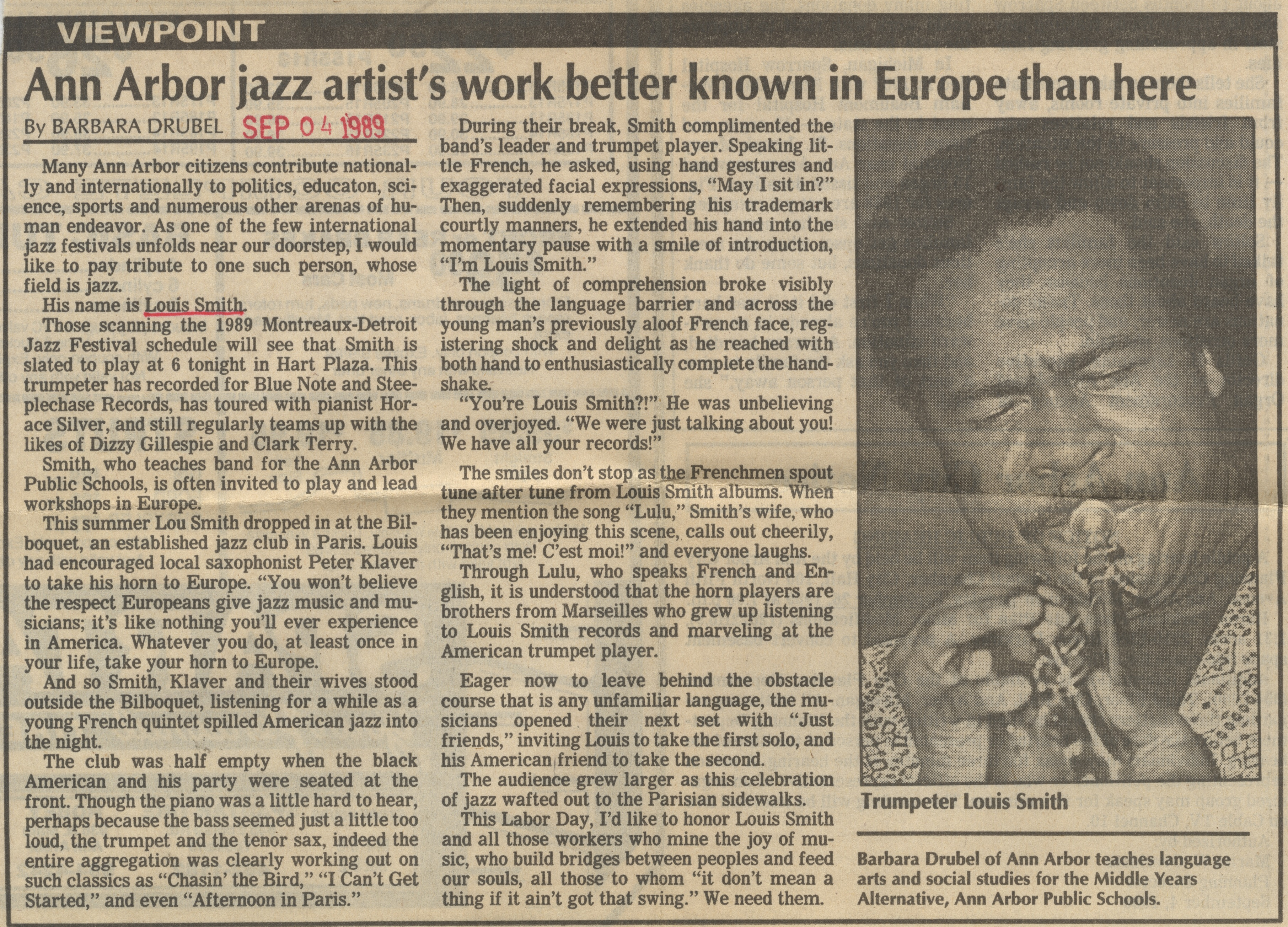 Ann Arbor Jazz Artist's Work Better Known In Europe Than Here image
