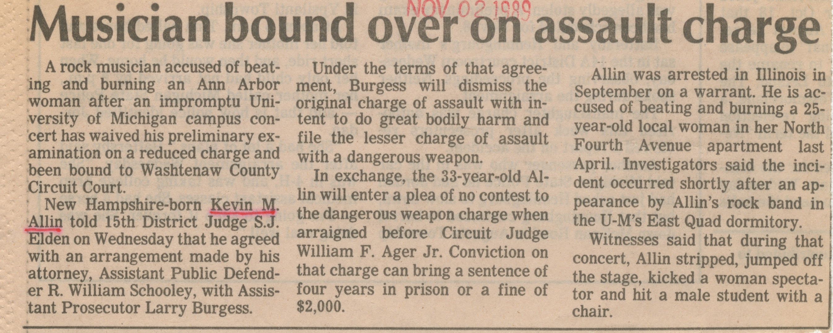 Musician Bound Over On Assault Charge image