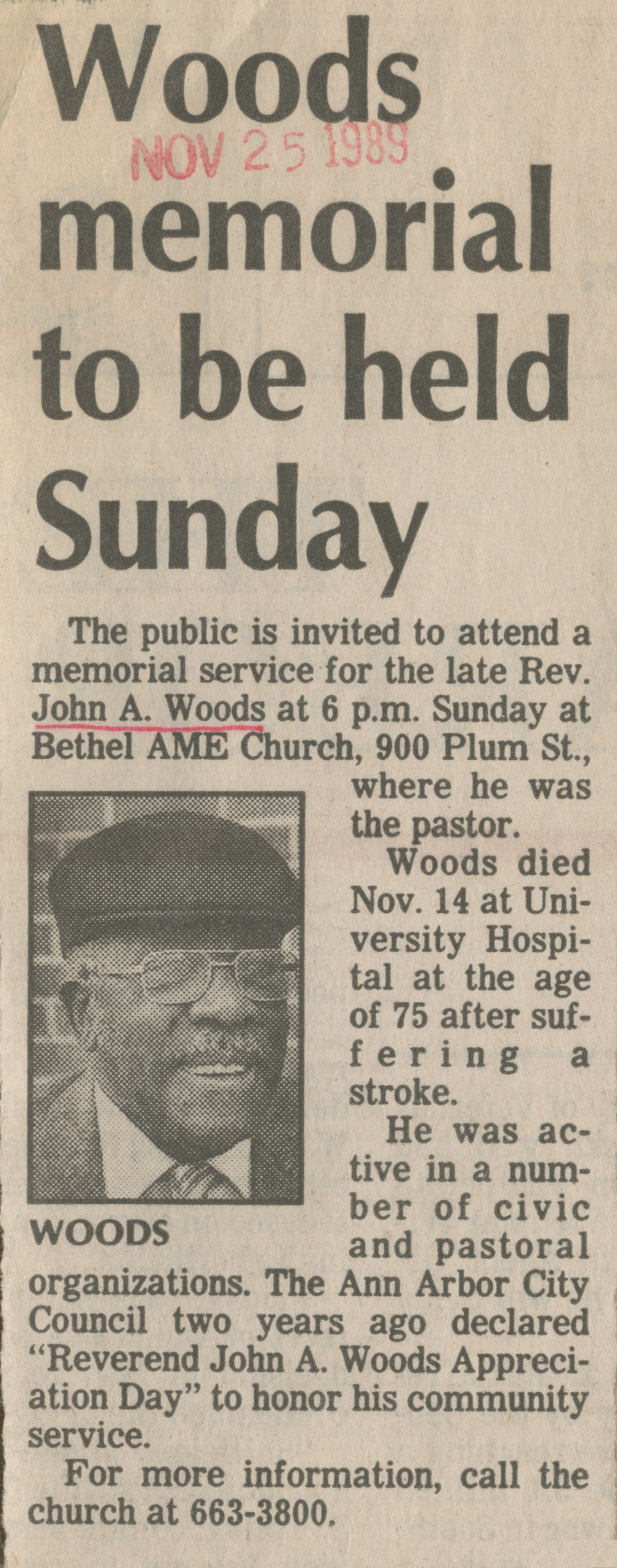 Woods memorial to be held Sunday image