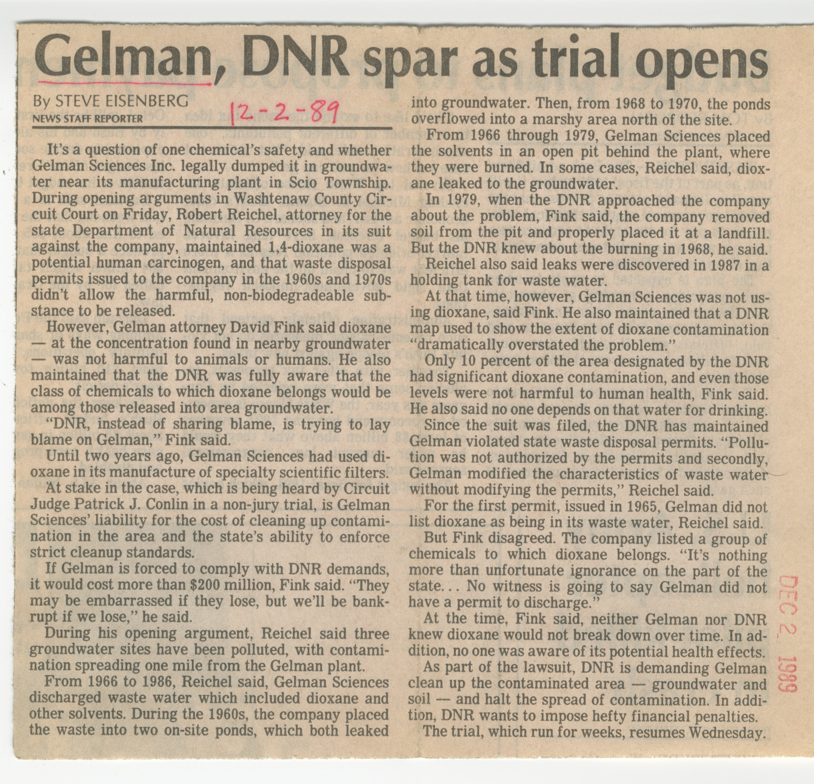 Gelman, DNR Spar As Trial Opens image