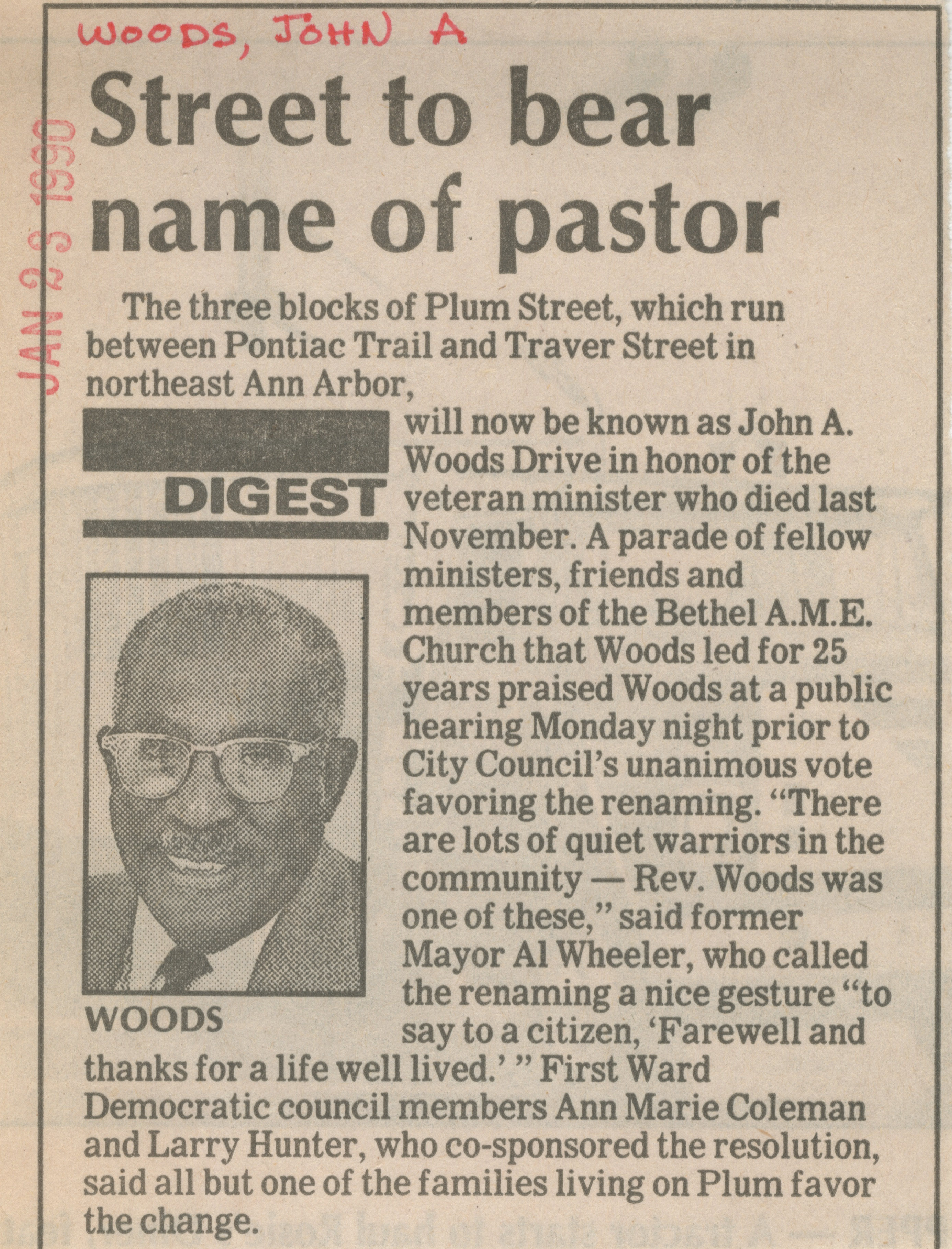 Street to bear name of pastor image