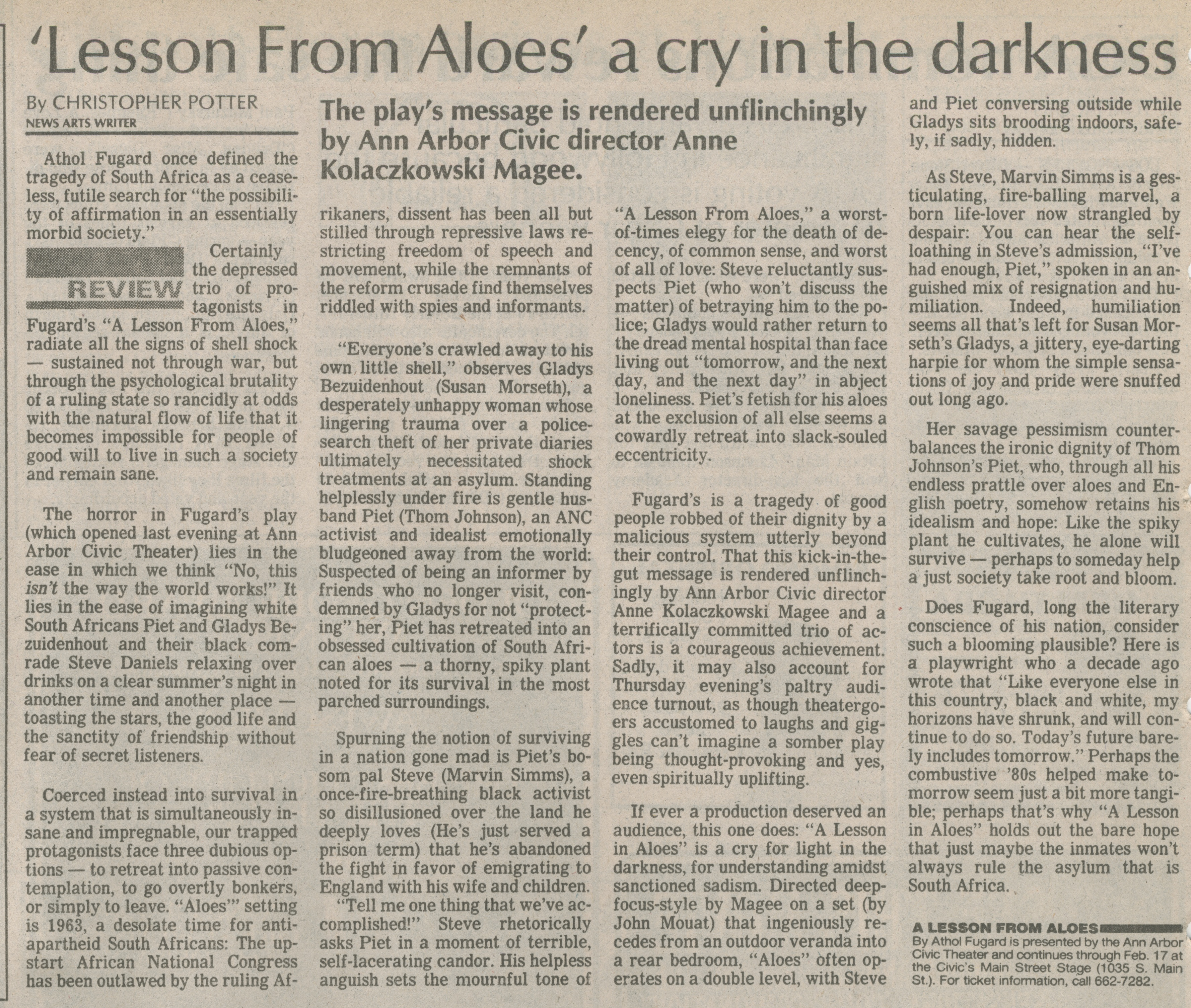 'Lesson From Aloes' A Cry In The Darkness image