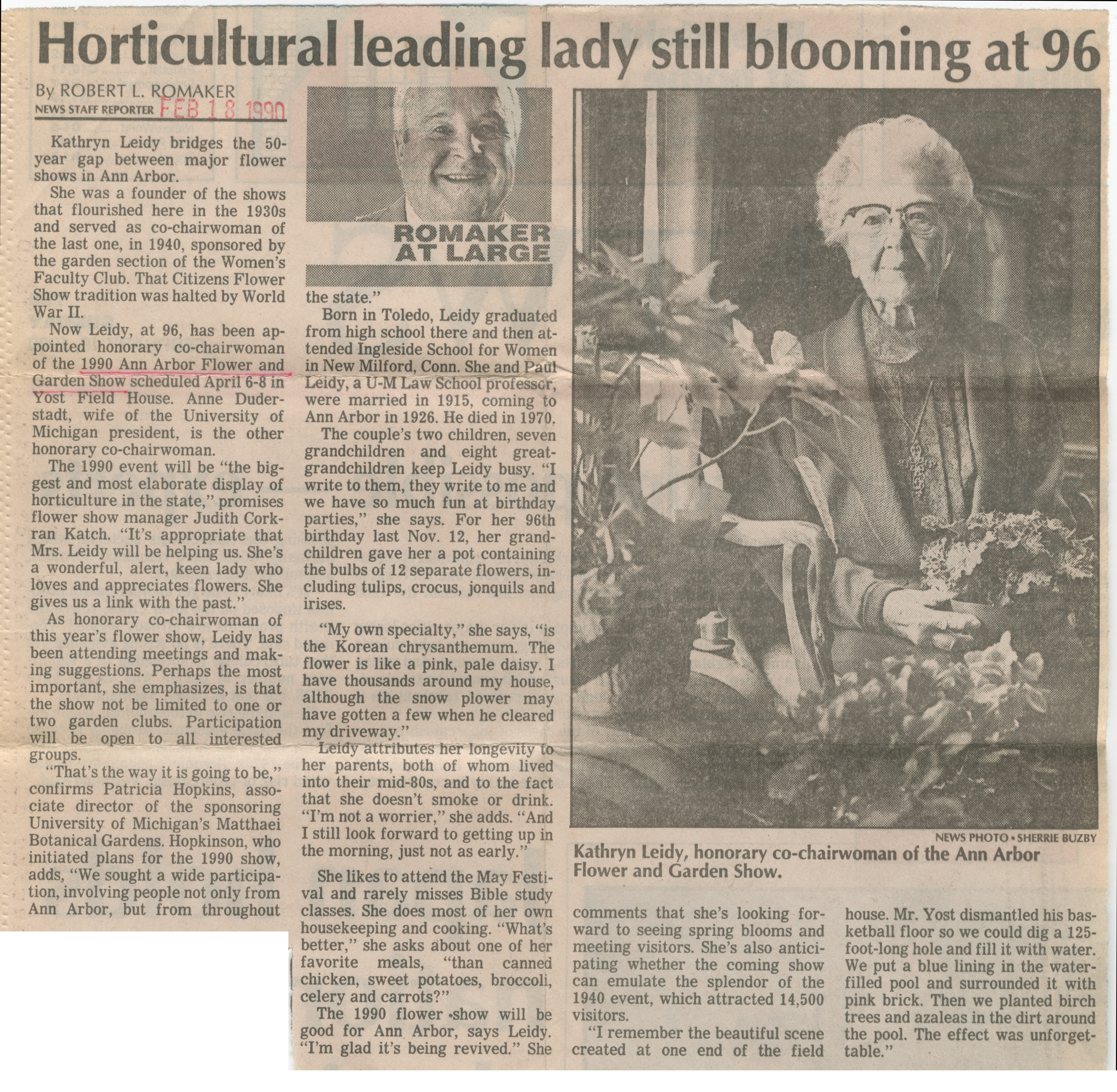 Horticultural Leading Lady Still Blooming at 96 image