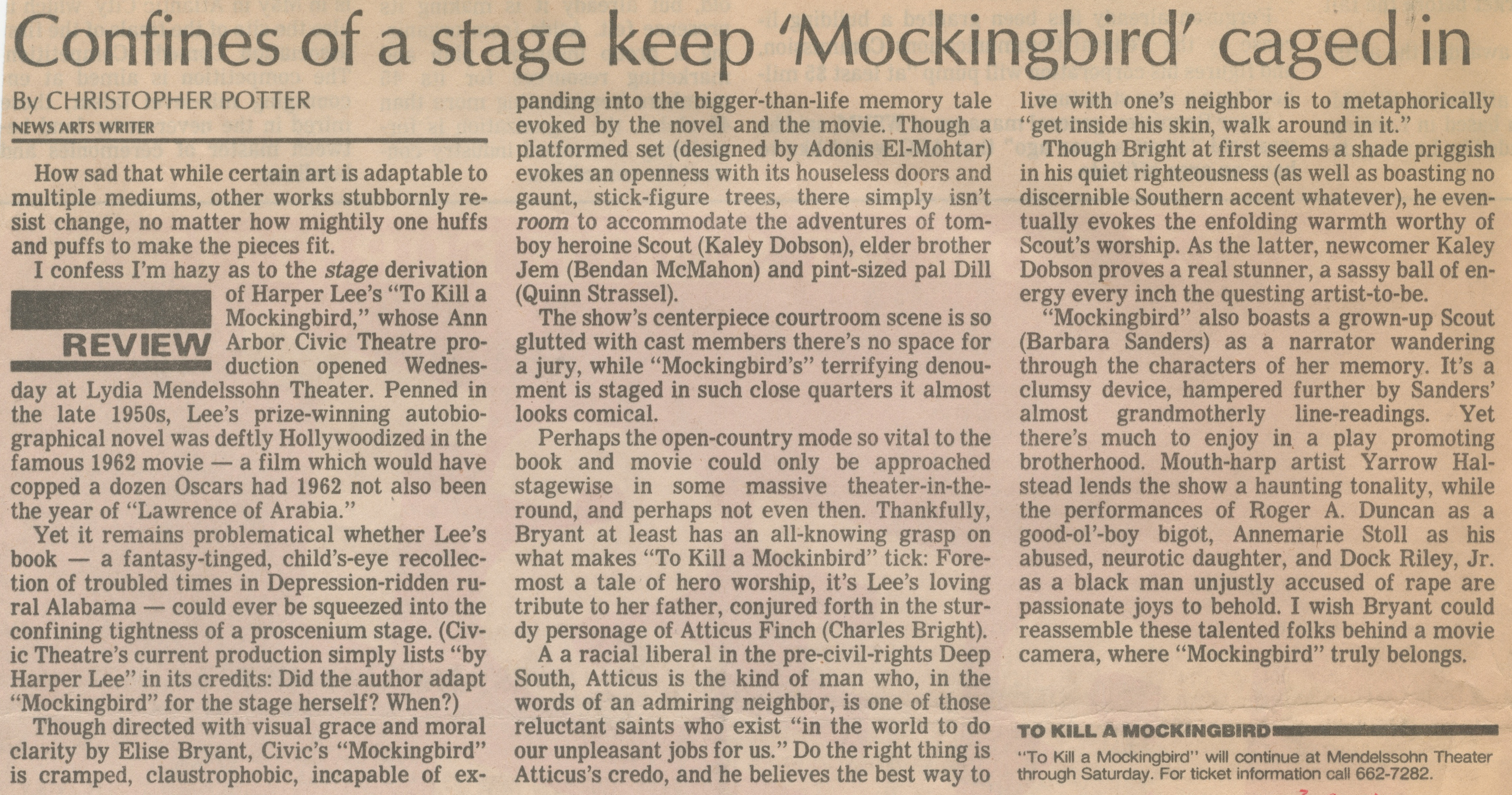 Confines Of A Stage Keep 'Mockingbird' Caged In image