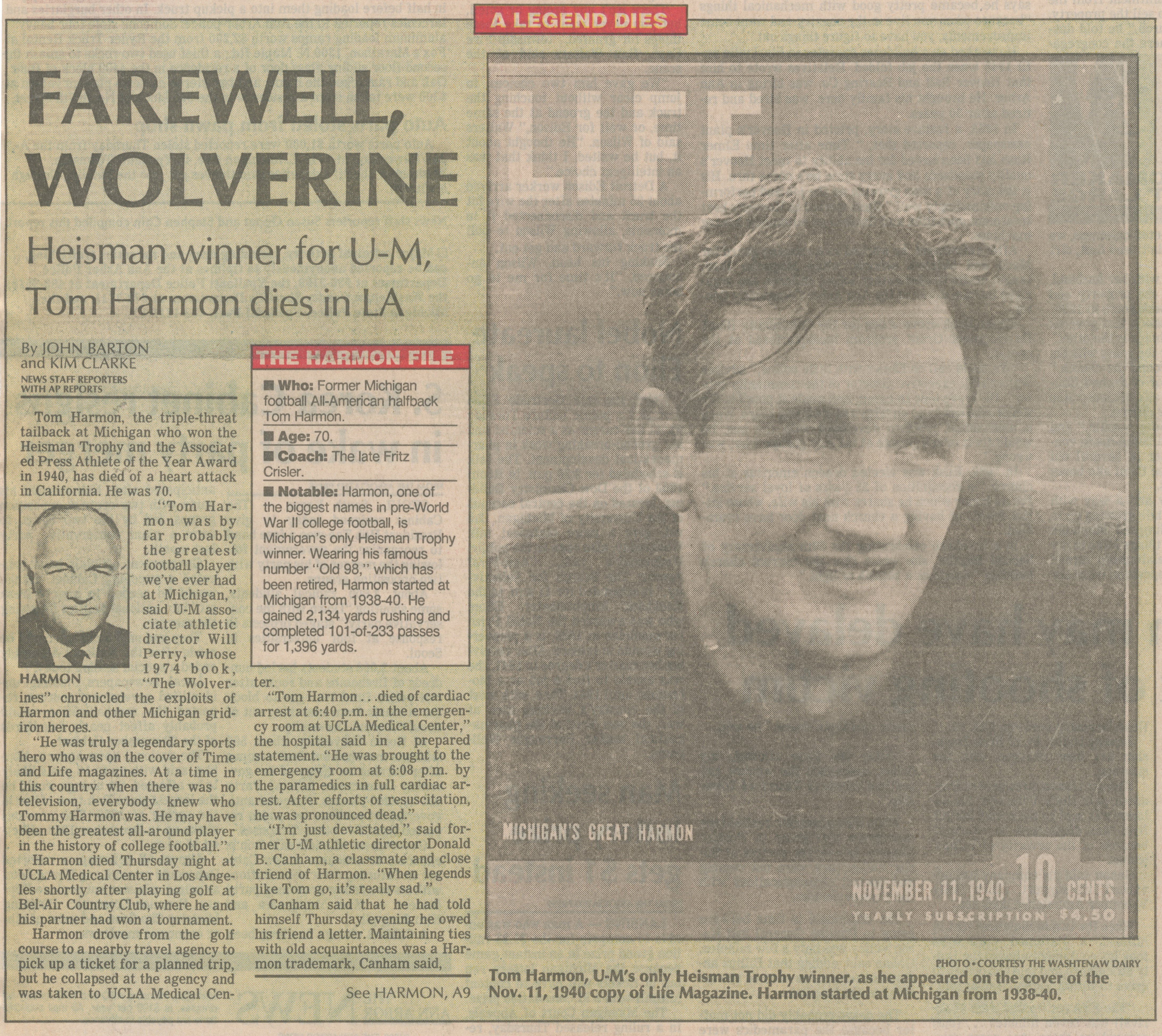 A Legend Dies - Farewell, Wolverine - Heisman Winner For U-M, Tom Harmon Dies In LA image