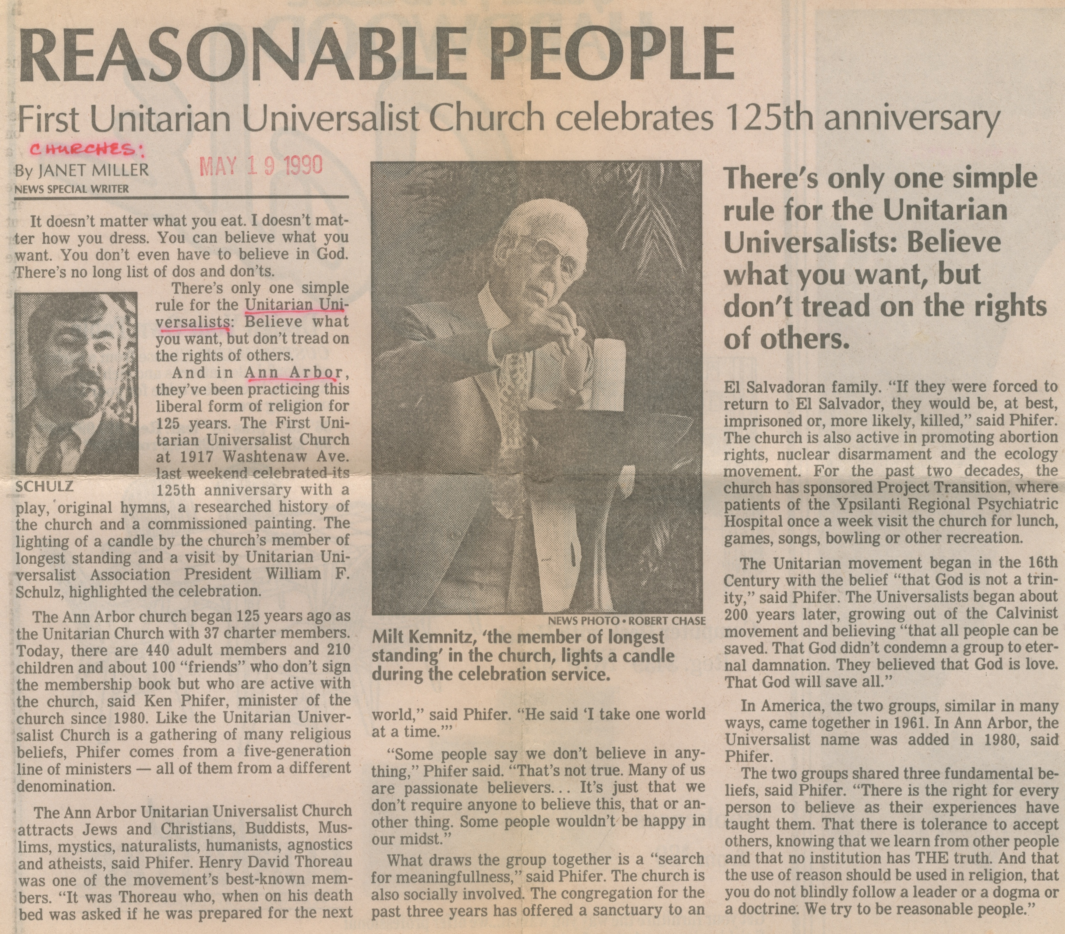 Reasonable People - First Unitarian Universalist Church Celebrates 125th Anniversary image