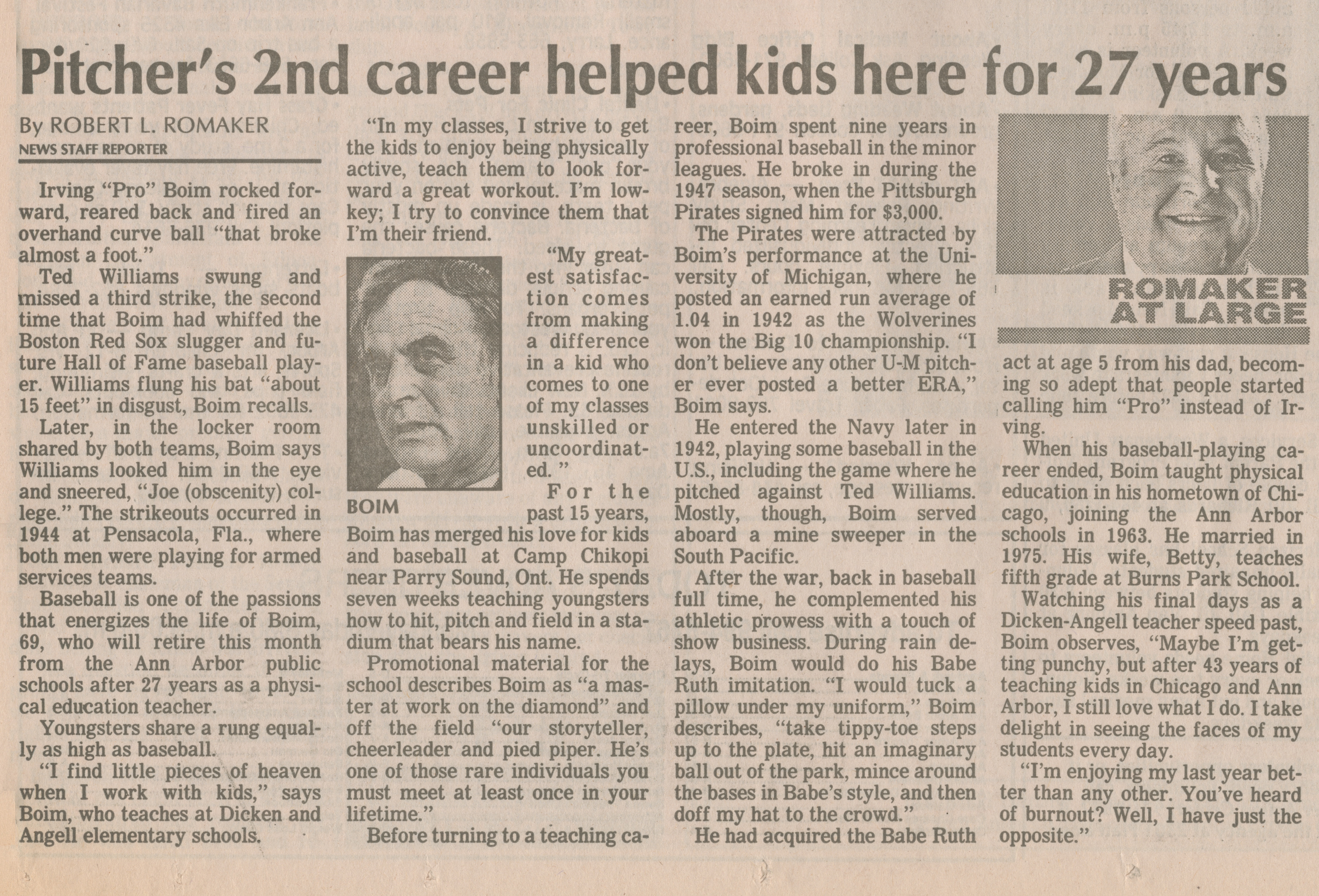 Pitcher's 2nd career helped kids here for 27 years image