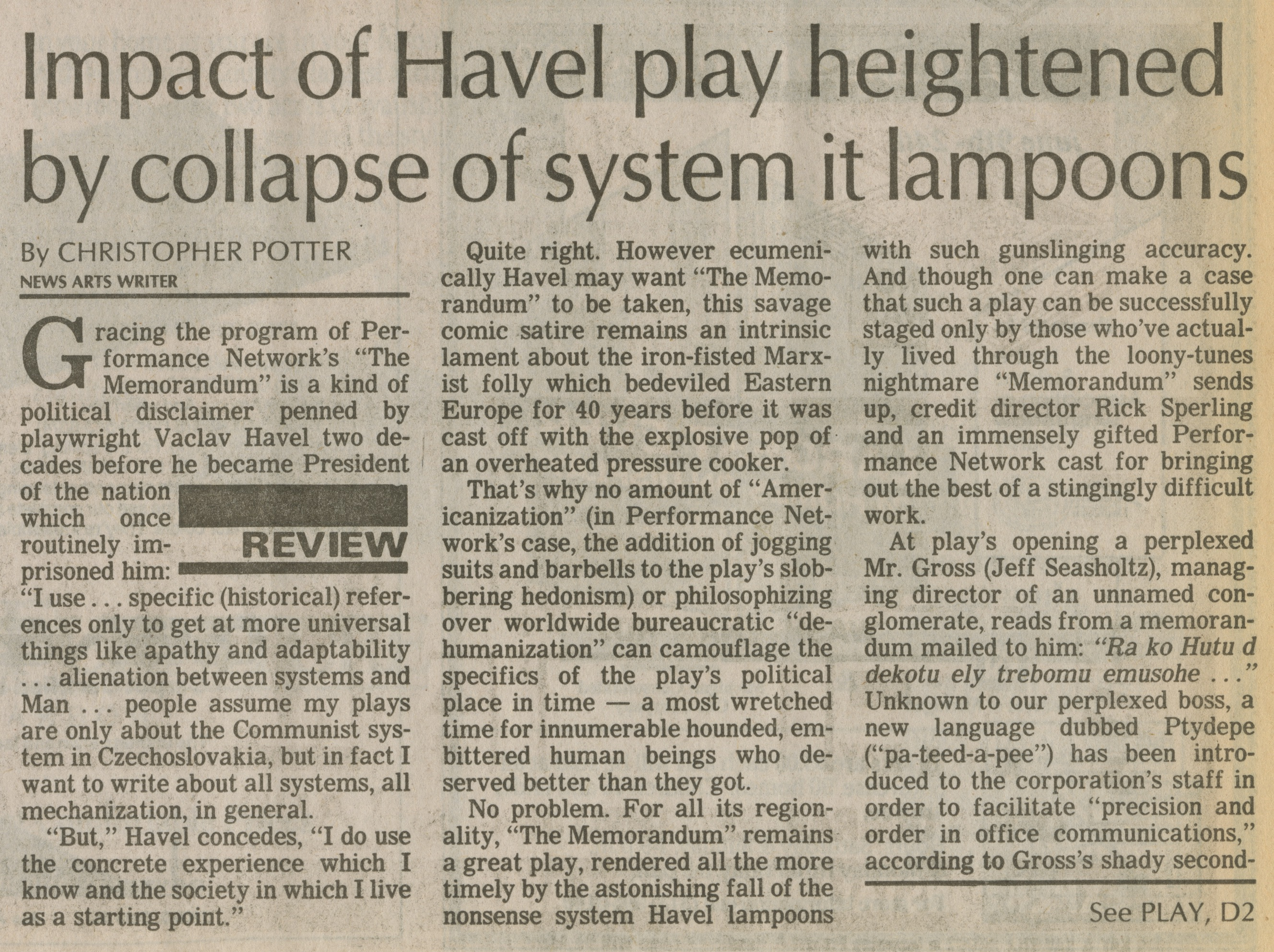 Impact of Havel play heightened by collapse of system it lampoons image