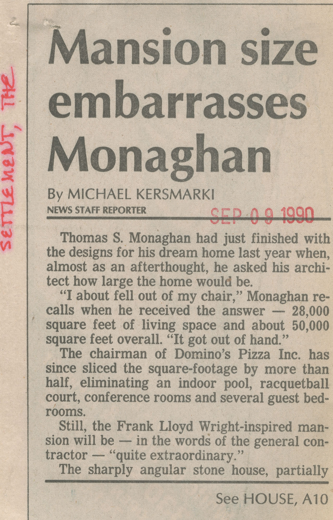 Mansion size embarrasses Monaghan image