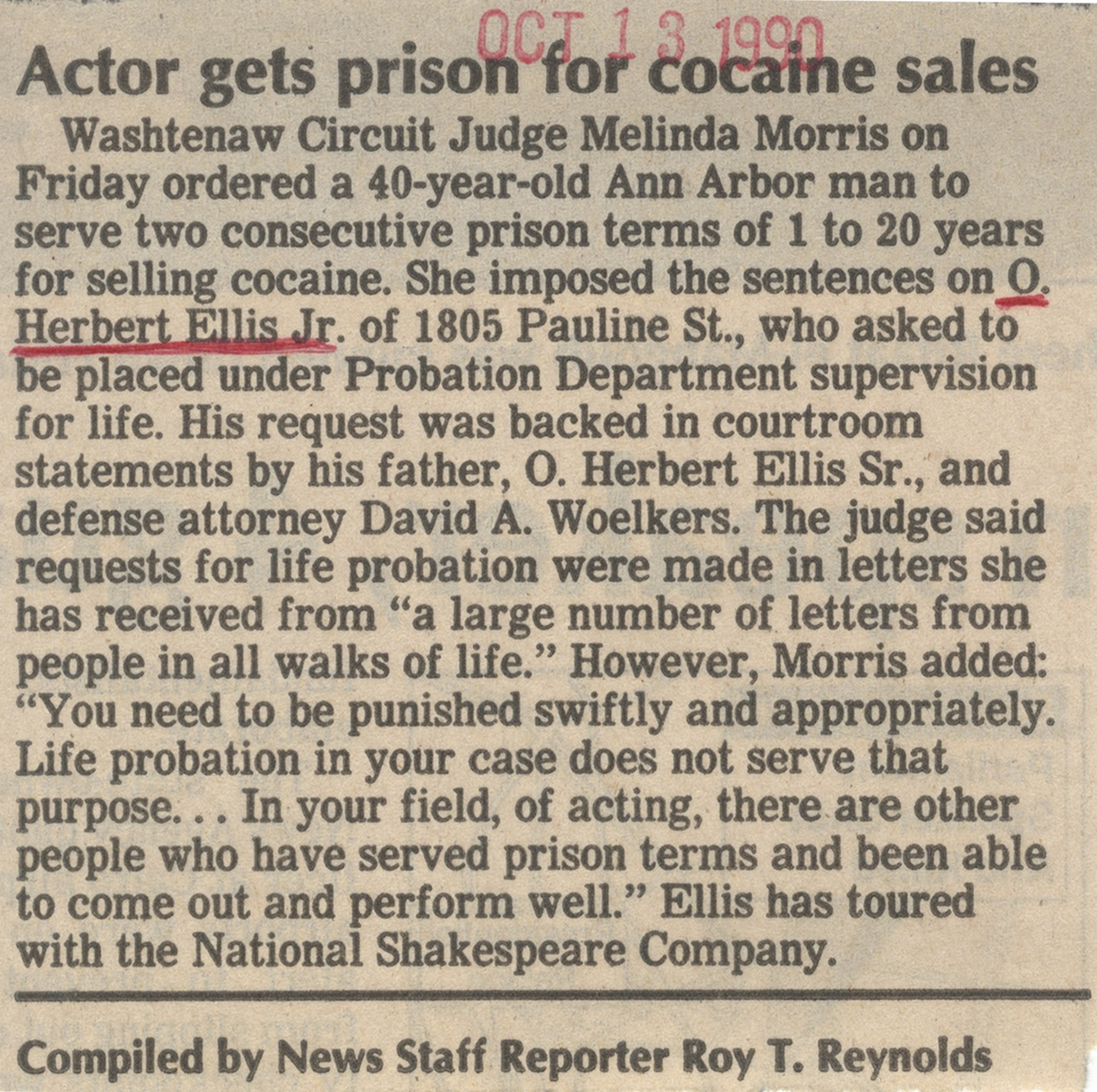 Actor Gets Prison For Cocaine Sales image