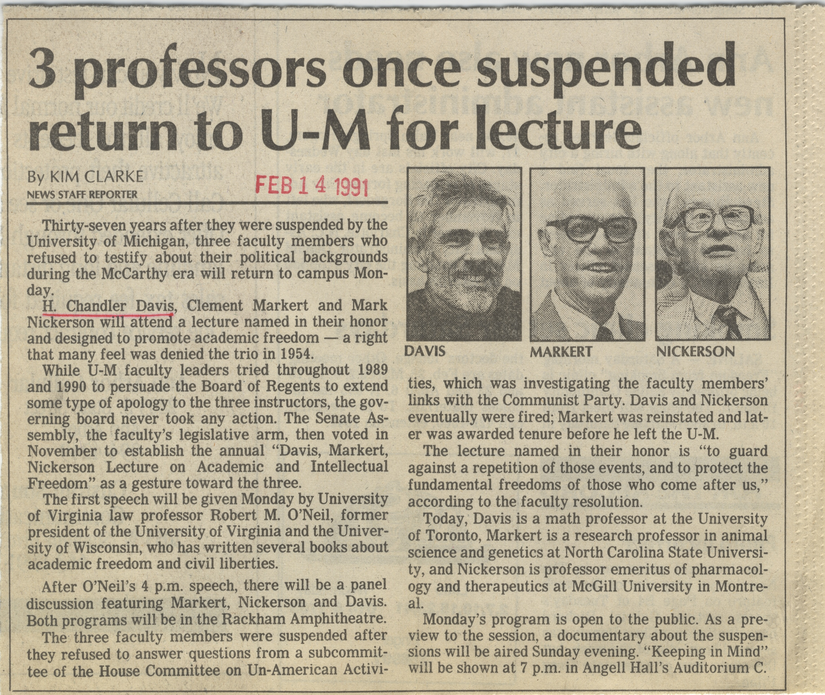 3 Professors Once Suspended Return To U-M For Lecture image