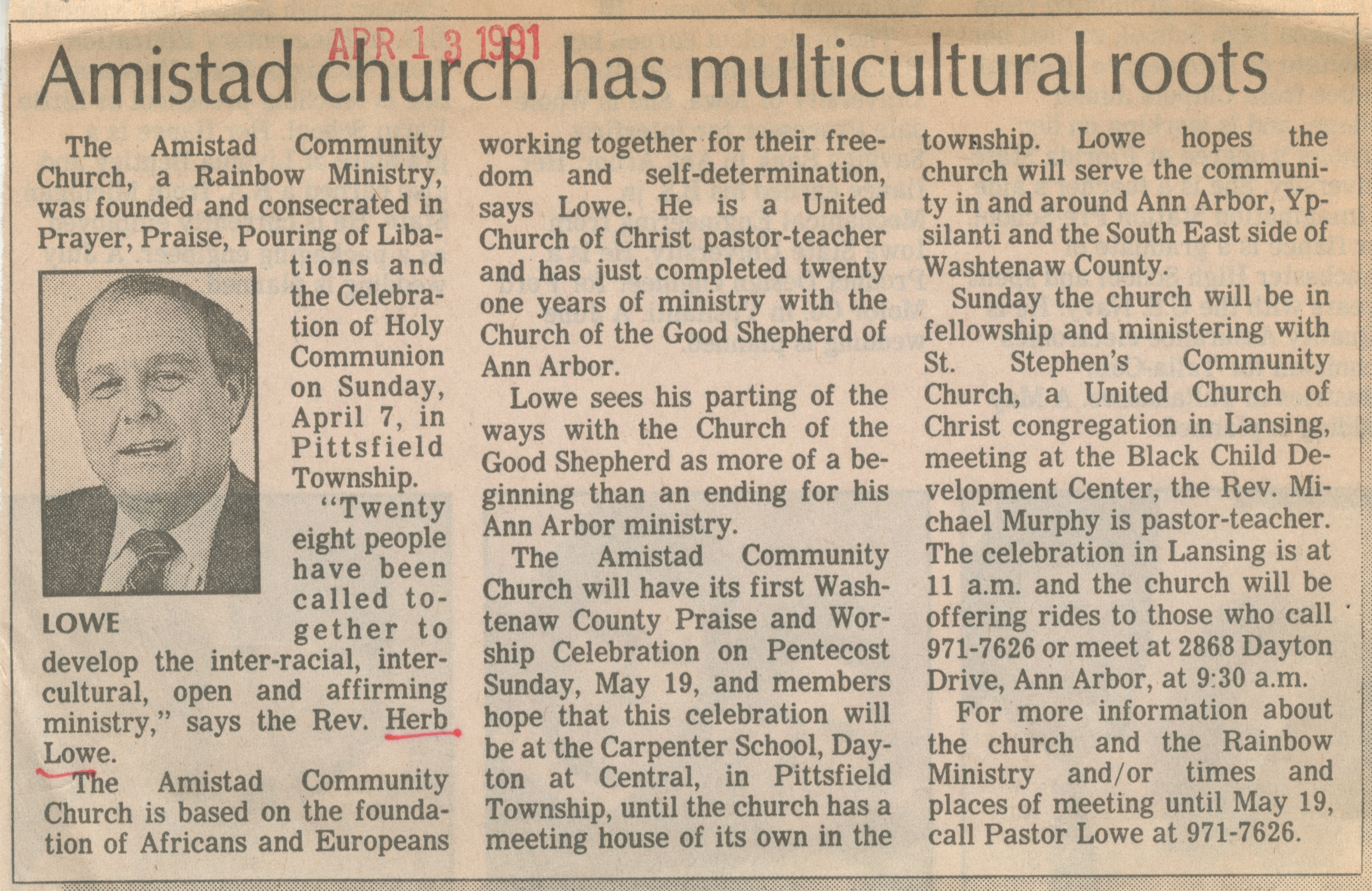 Amistad church has multicultural roots image