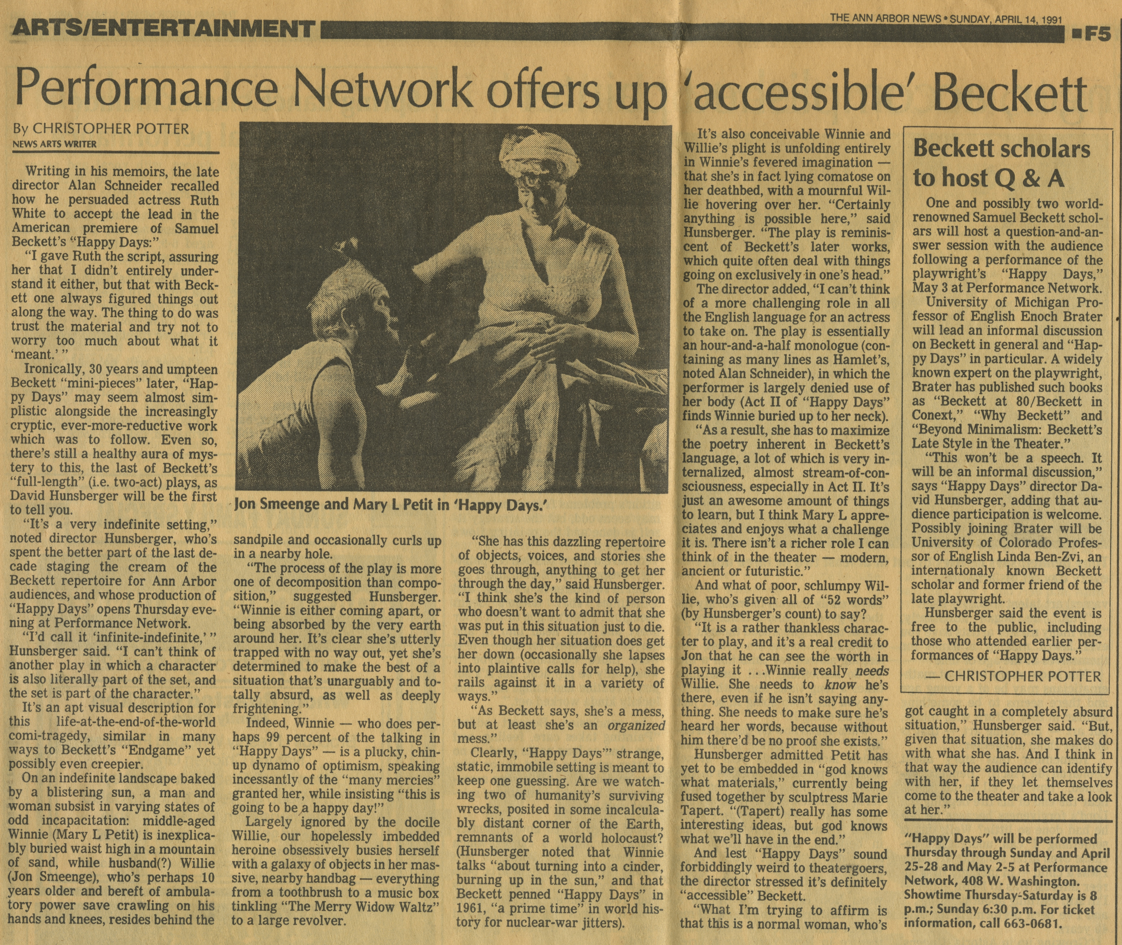 Performance Network offers up 'accessible' Beckett image