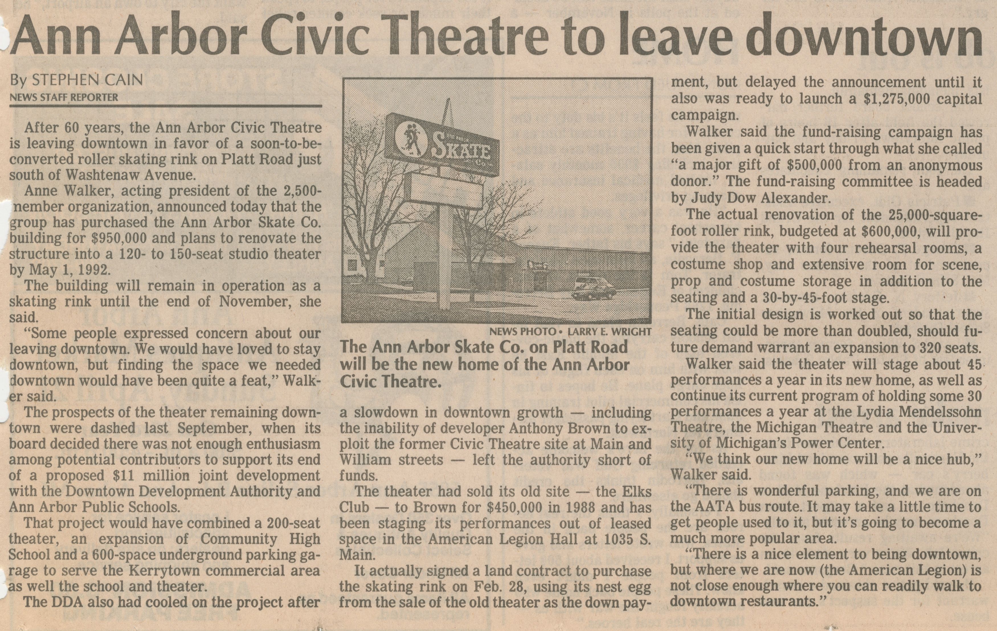 Ann Arbor Civic Theatre To Leave Downtown image