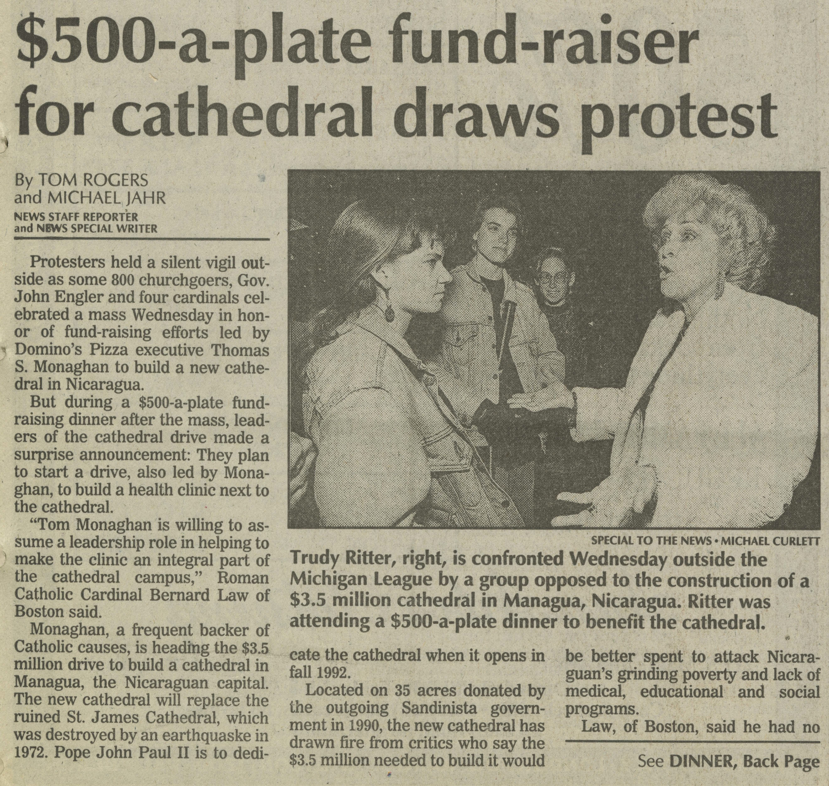 500-A-Plate Fund-raiser For Cathedral Draws Protest image