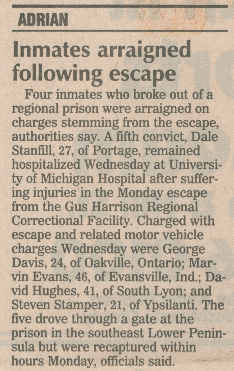 Inmates Arraigned Following Escape image