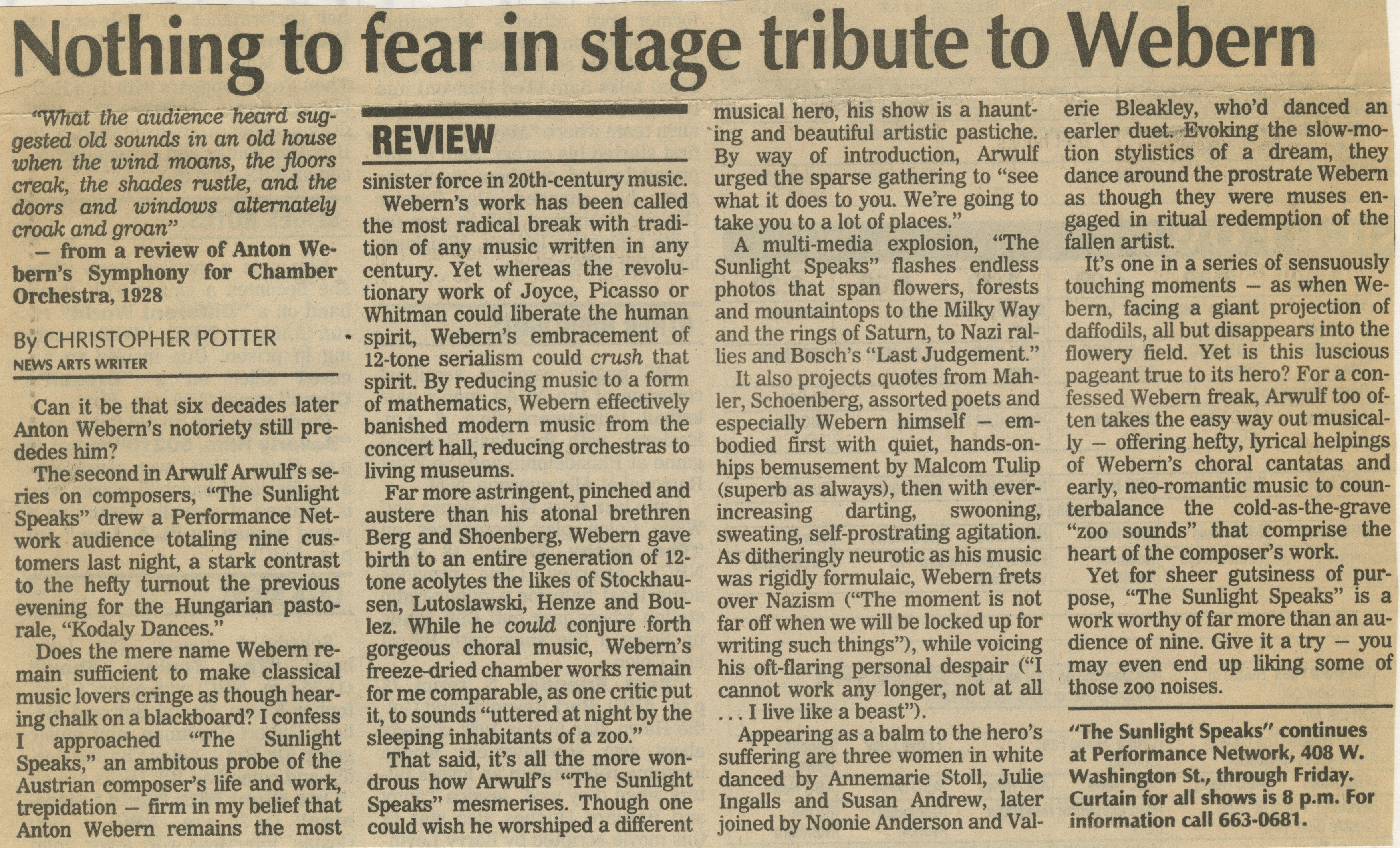 Nothing to fear in stage tribute to Webern image