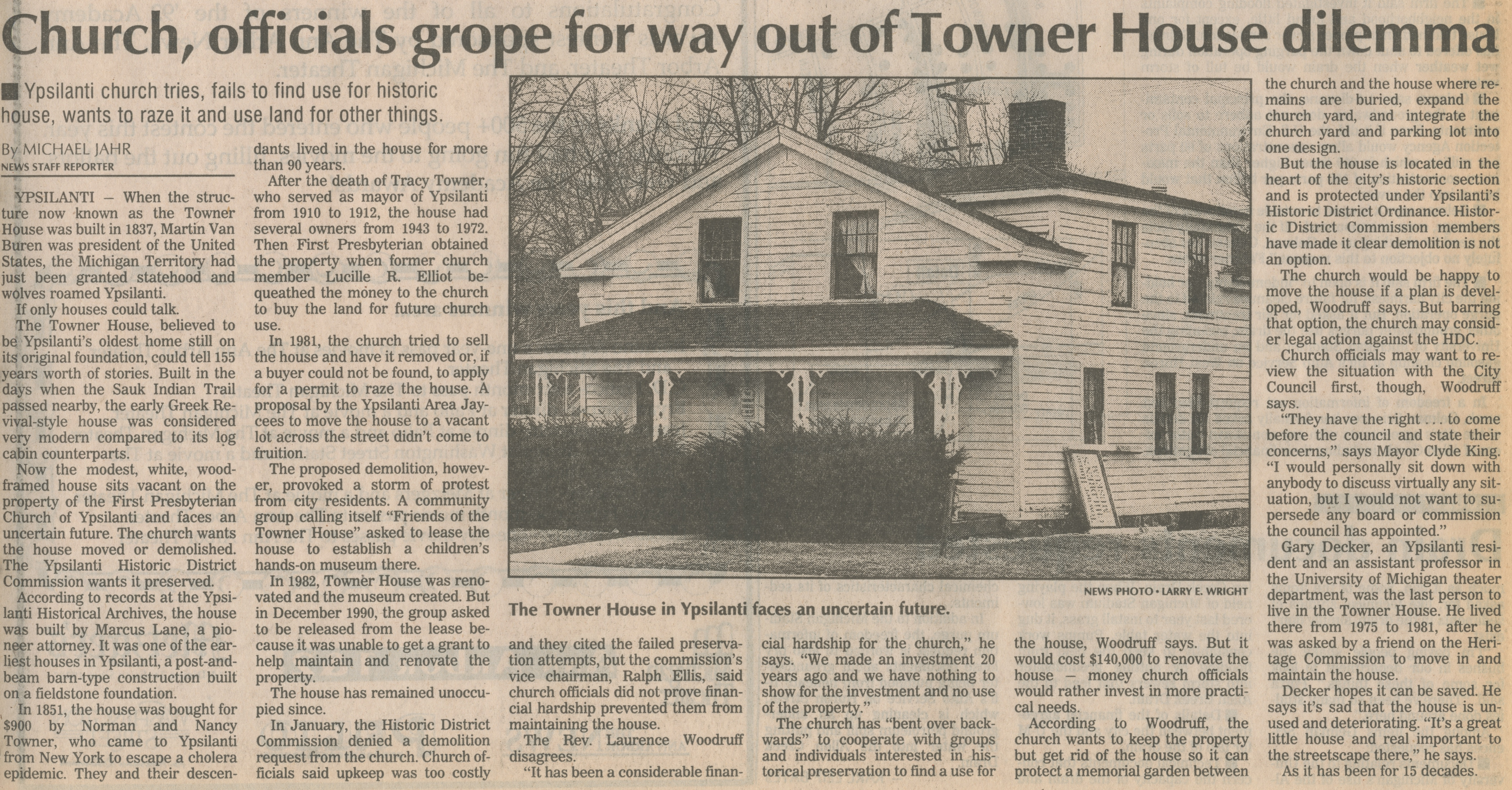 Church, Officials Grope For Way Out Of Towner House Dilemma image