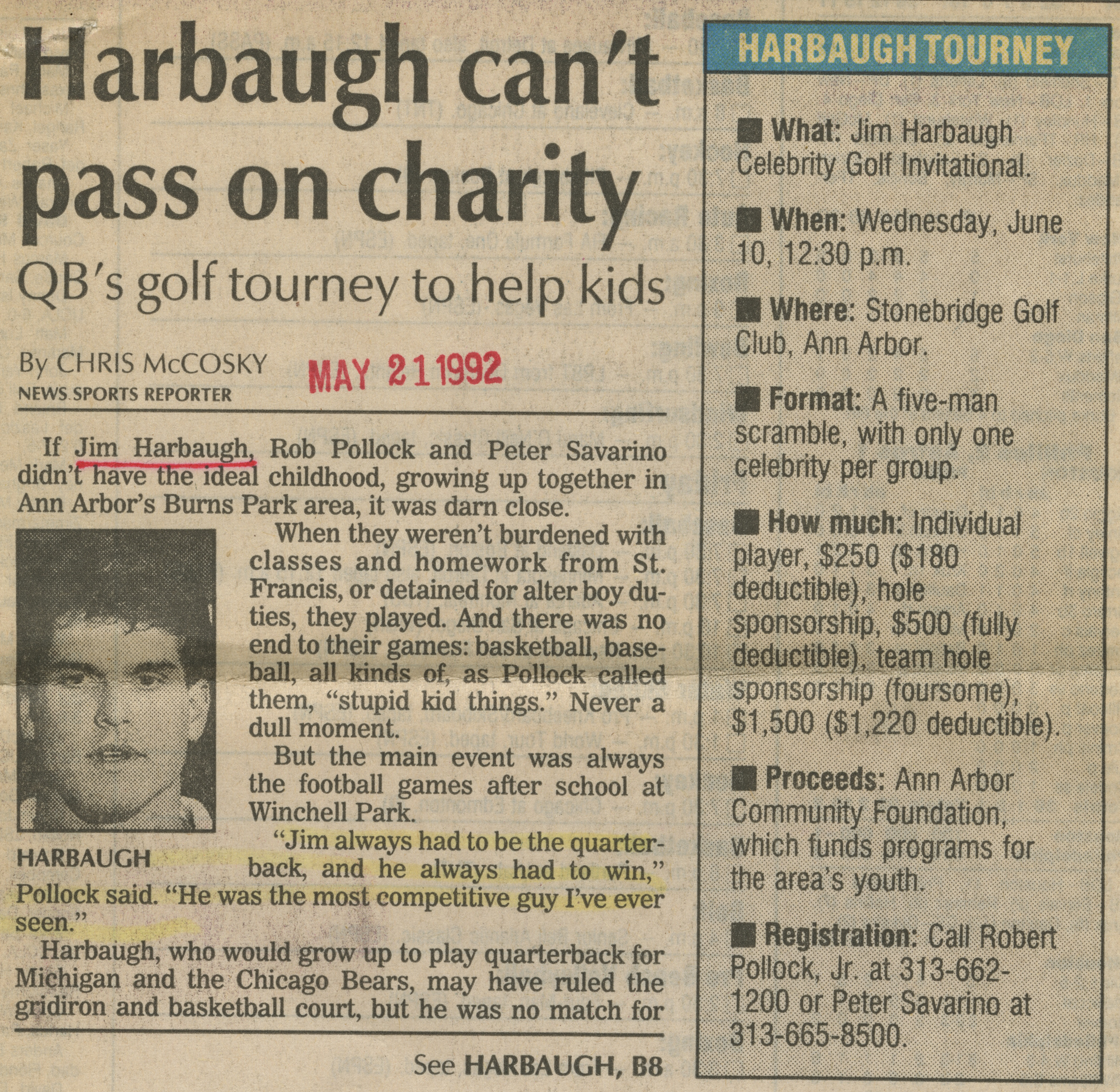 Harbaugh can't pass on charity image